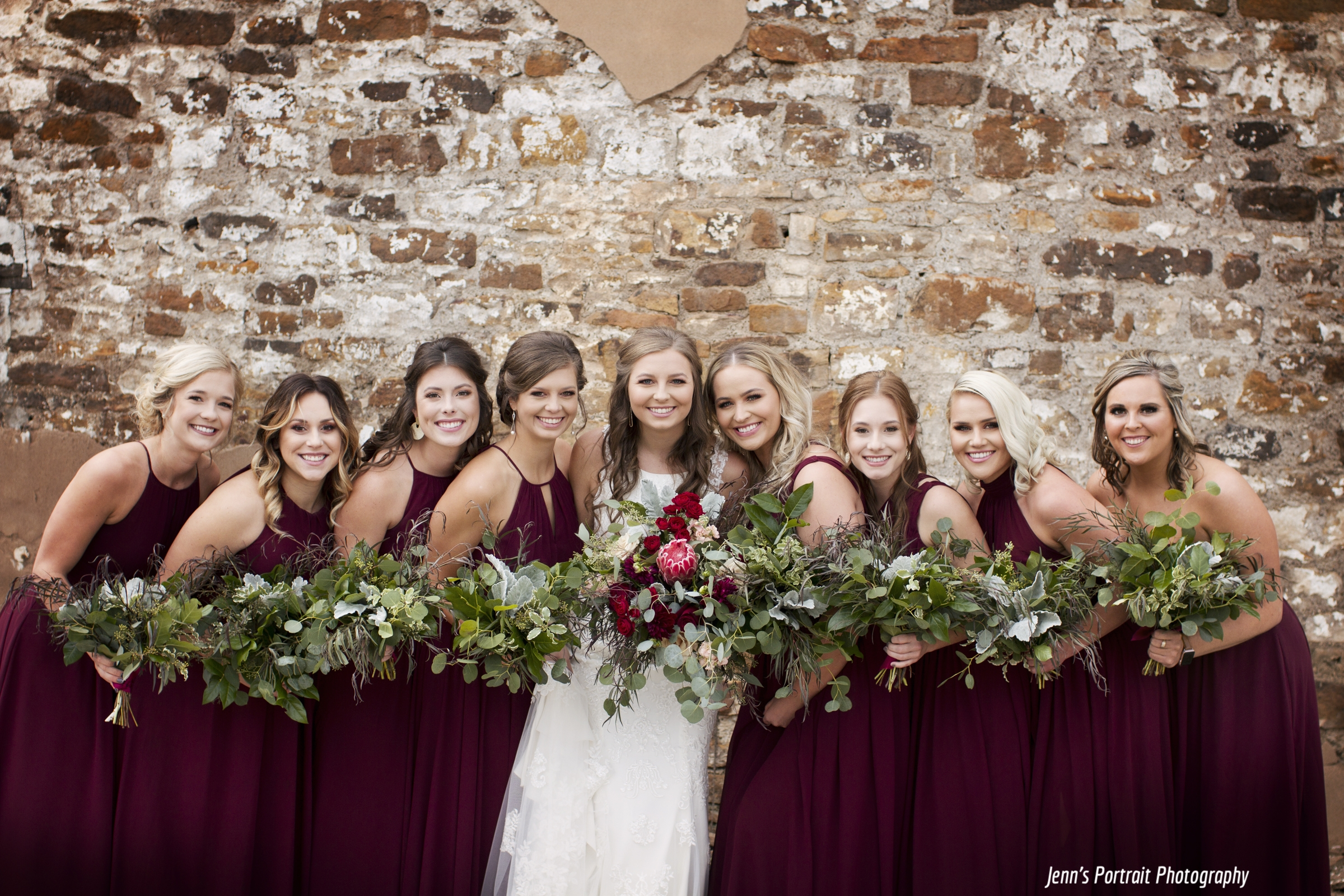 Mixed greenery bouquets for bridesmaids