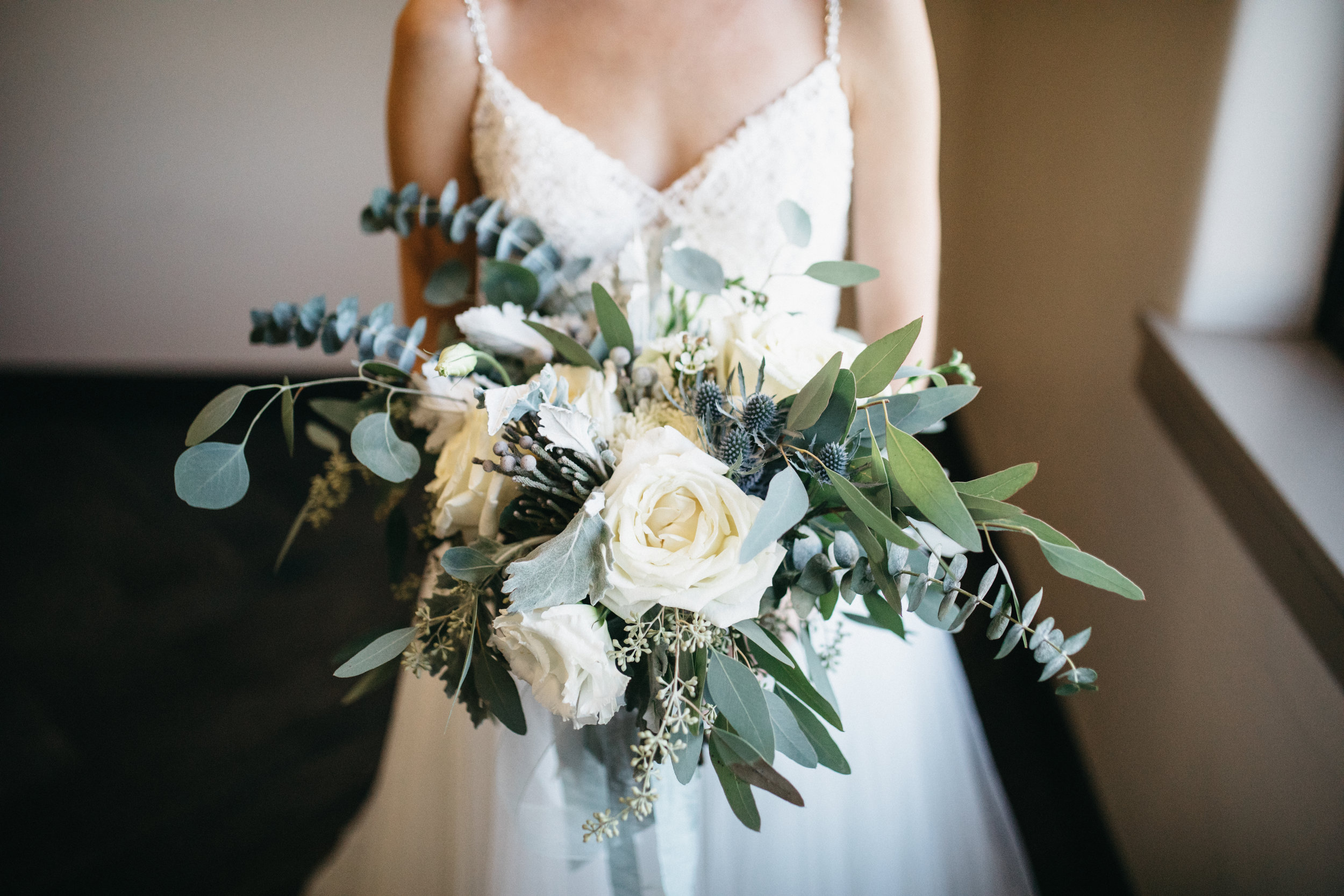 Cream and dusty blue bouquet