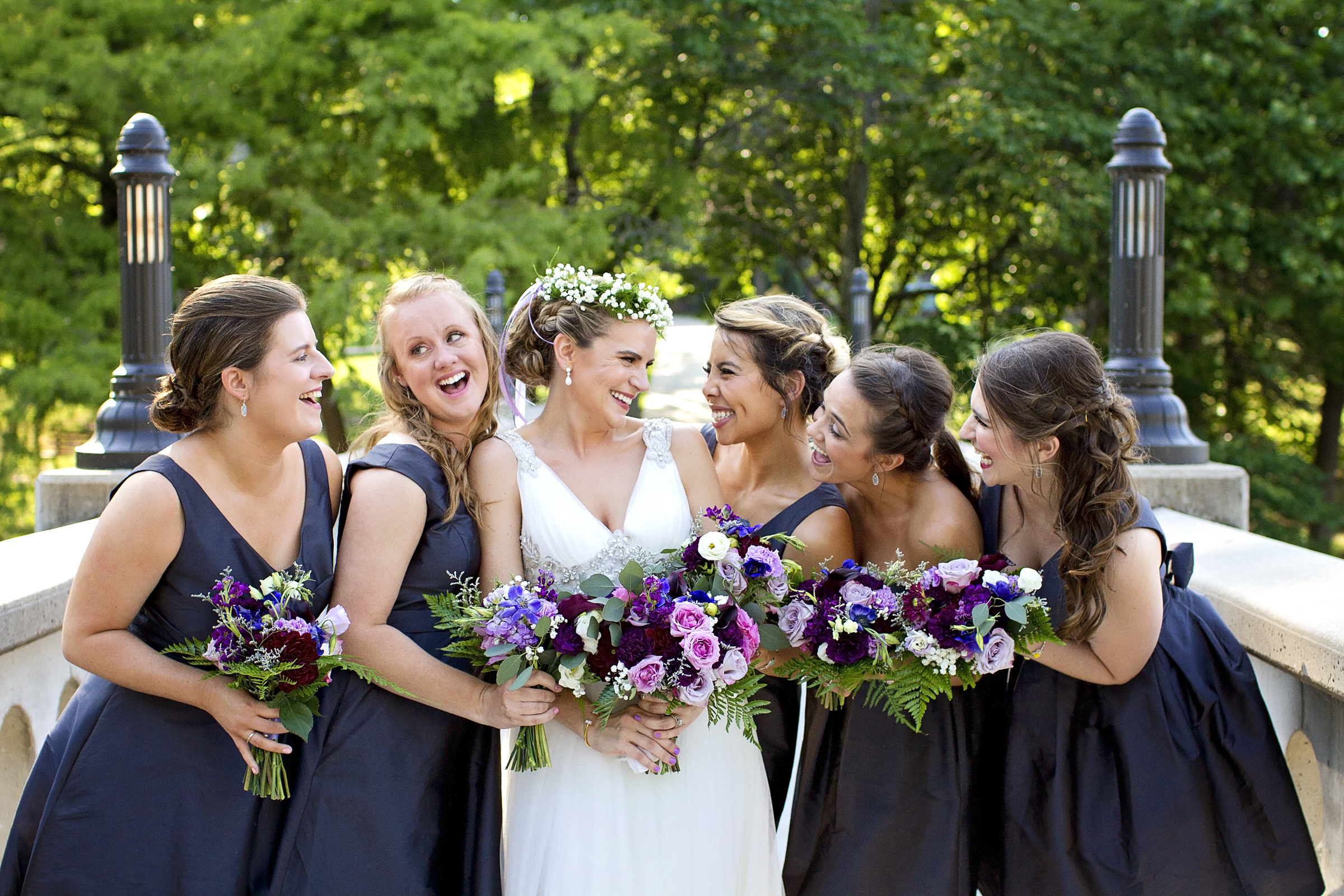 Summer purple bouquets and a baby's breath flower crown