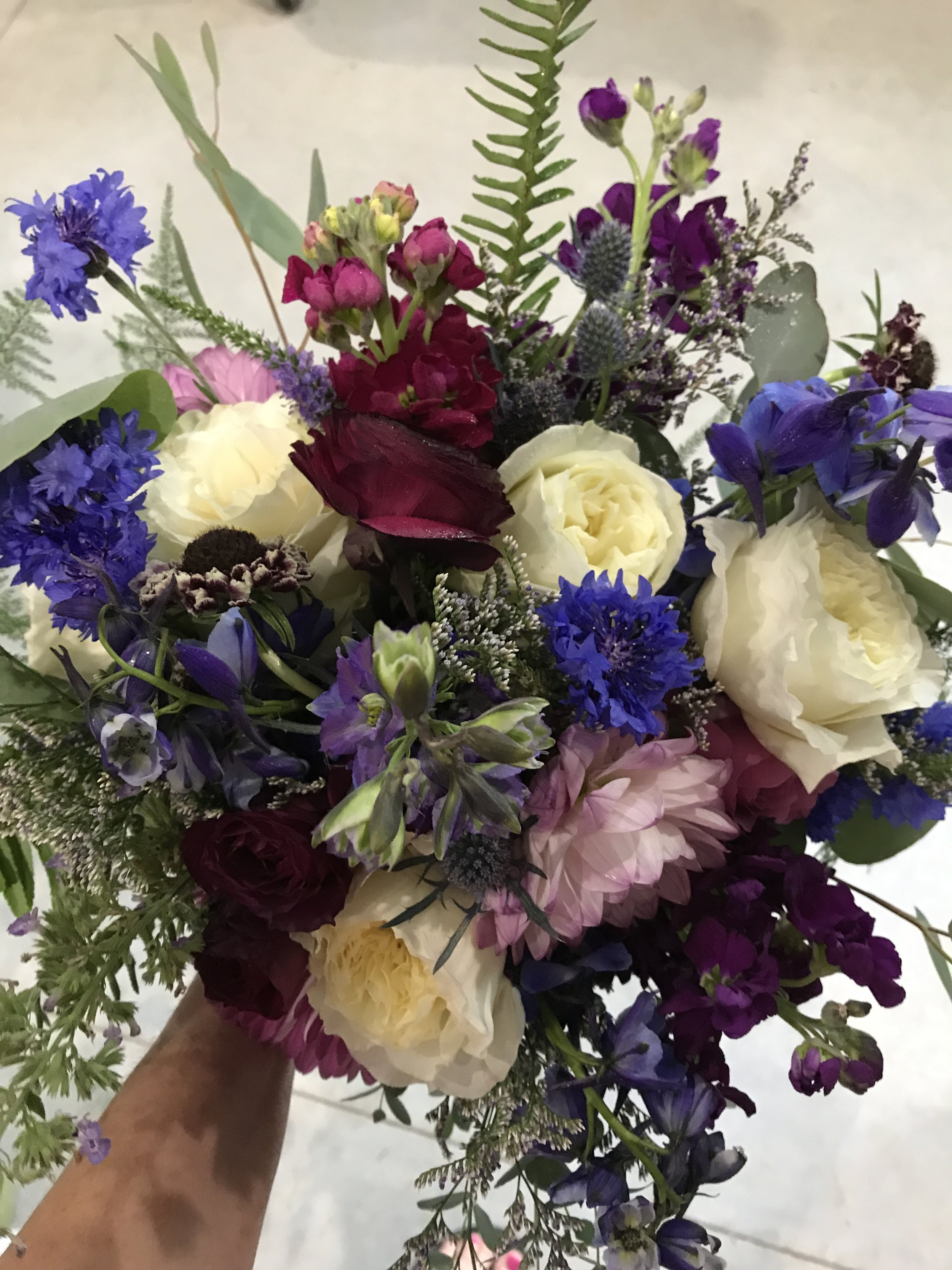Summer Purples with ivory garden roses