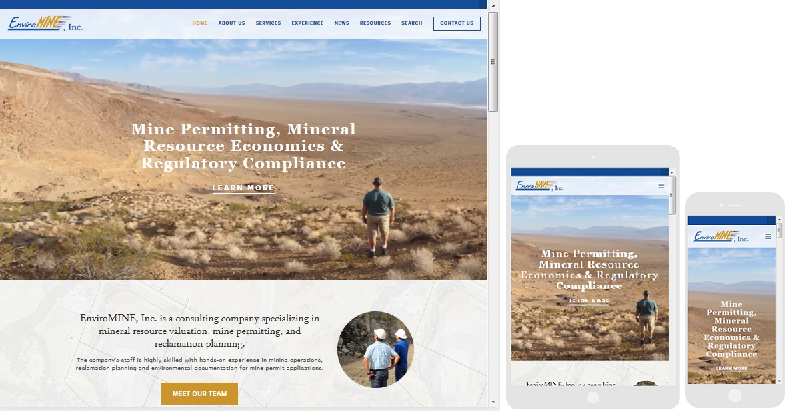 The EnviroMINEinc.com website displayed on a desktop, tablet and smart phone screen using a responsive website design.