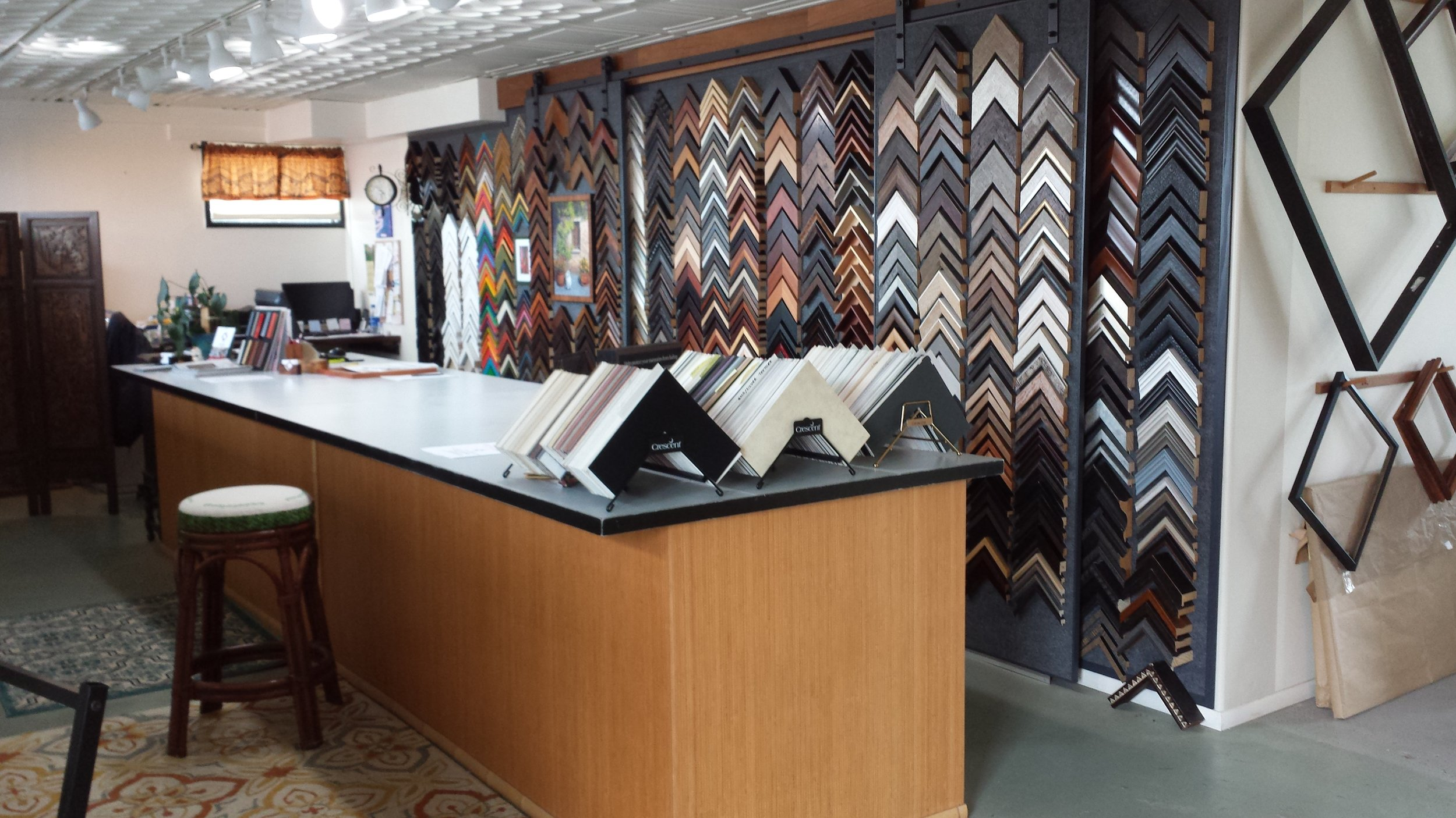 showroom - Extensive Moulding and Mat Samples. We now carry both Artique and Cresent matboard