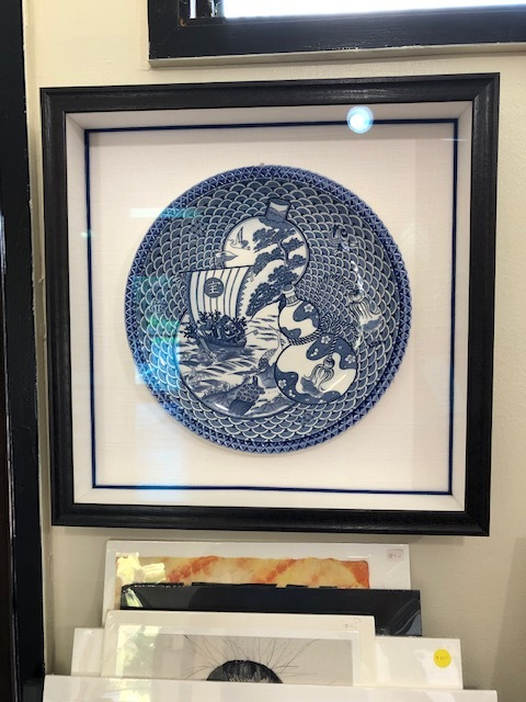 Seven signs of good fortune dish in shadow box with linen spacers and flex fabric fillets
