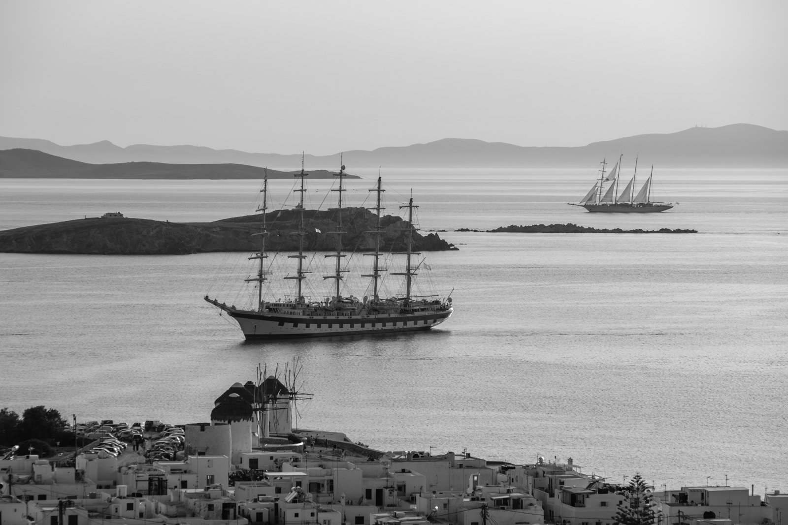 Tall ships visiting harbour of Alefkandra, Mykonos