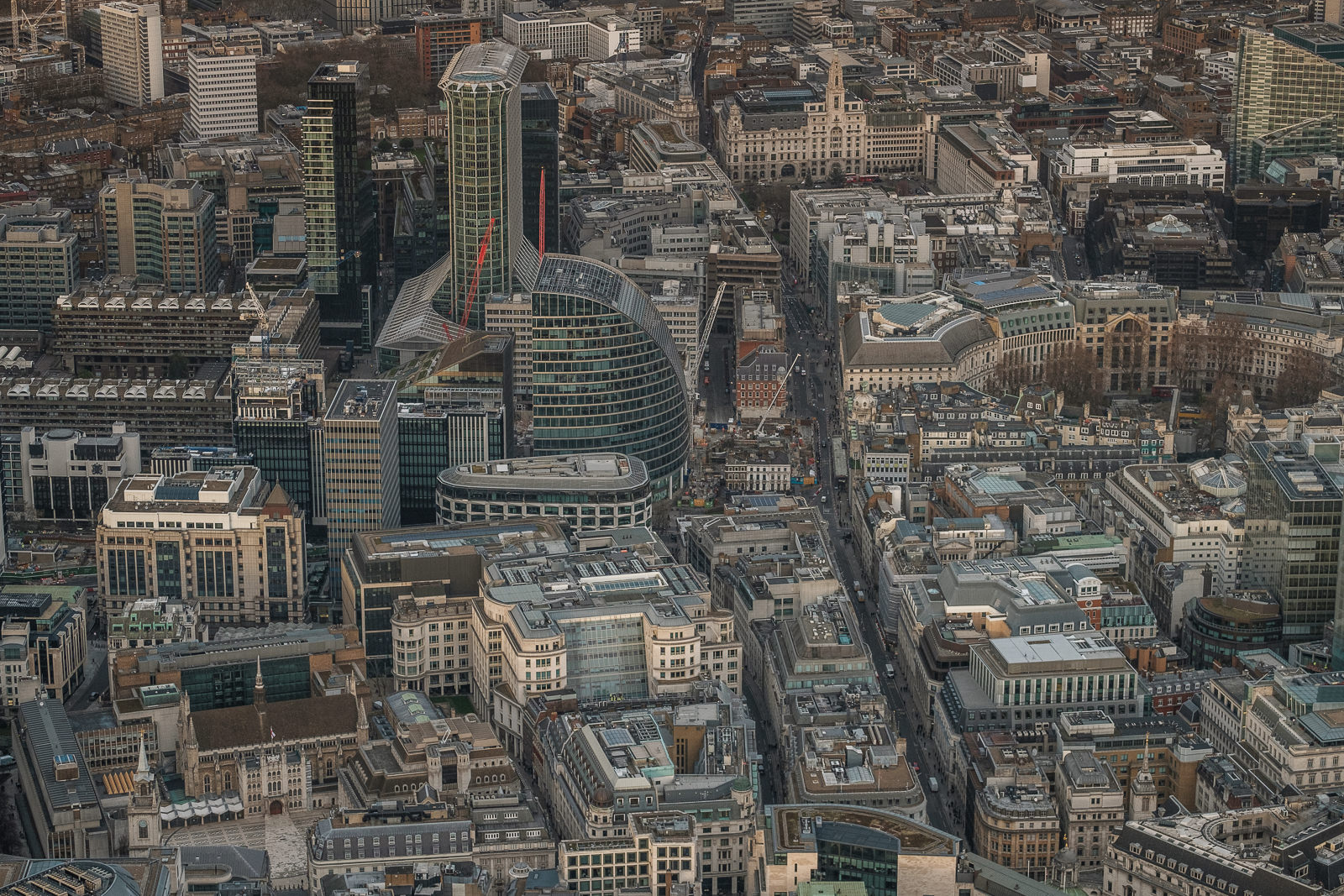 Looking north between Bank and Moorgate. Guildhall bottom left,  Finsbury Circus (right)X-T2 ISO200 50-140mm f3.6 1/1000s