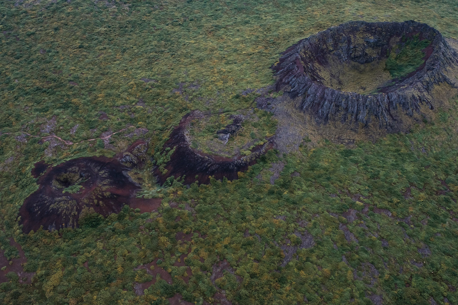 Dead volcanic craters, West Iceland. Aerial shot from small airplane.   (XF 16-55mm f2.8 at 24mm 1/1000 f6.4 ISO640)
