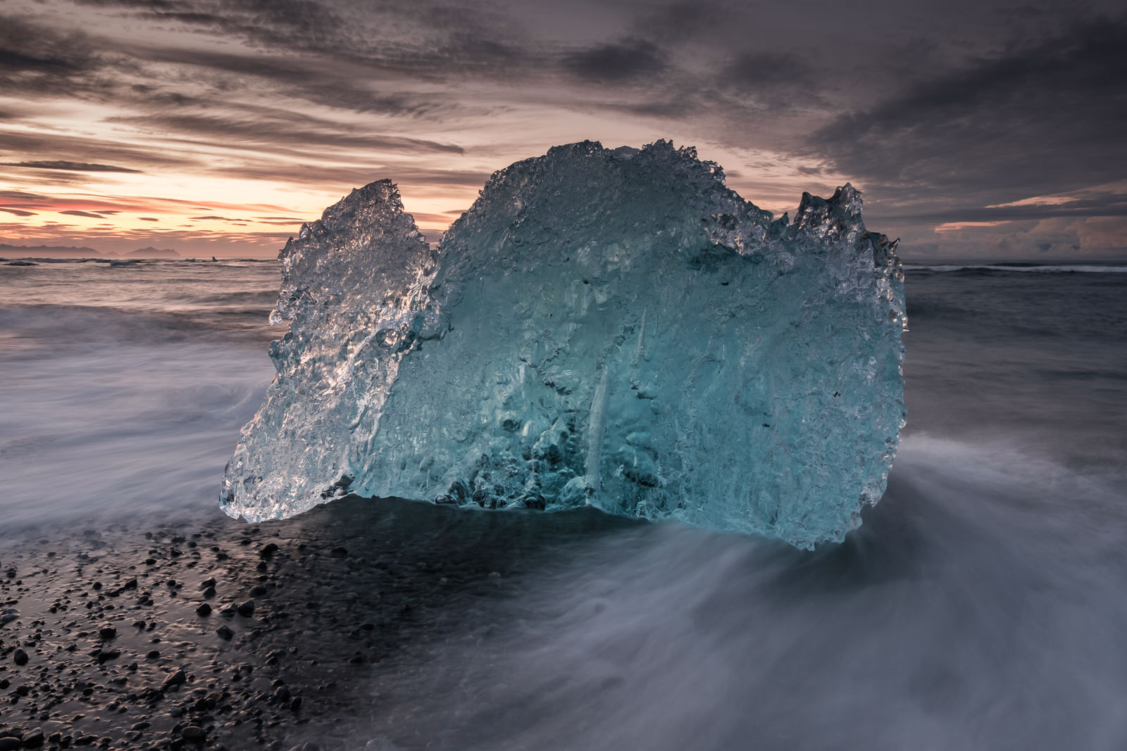 ice and water, at the Jökulsárlón diamond beach (XF 10-24mm f4 at 16mm 1s f16 ISO200)