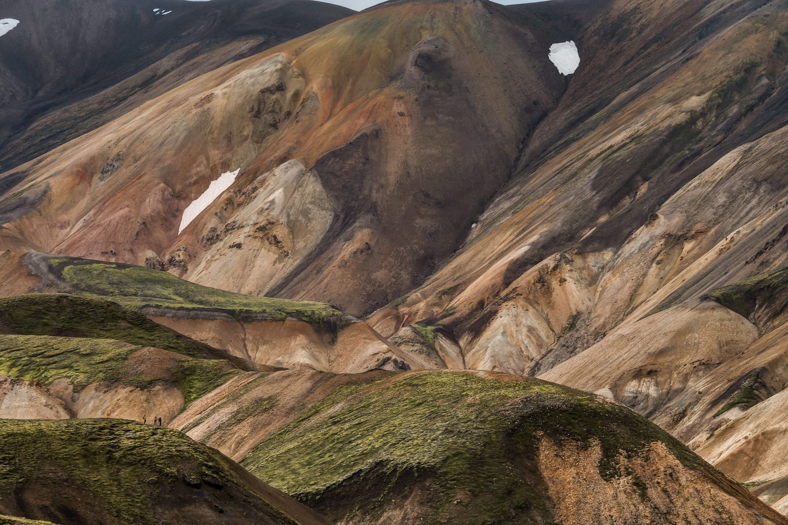 Landmannalaugar, tiny hikers (bottom left) for scale.