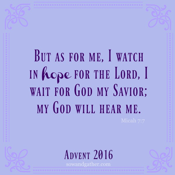 Finding Hope During Advent But as for me, I watch in hope for the Lord, I wait for God my Savior; my God will hear me. Micah 7:7 #sowandgather #advent
