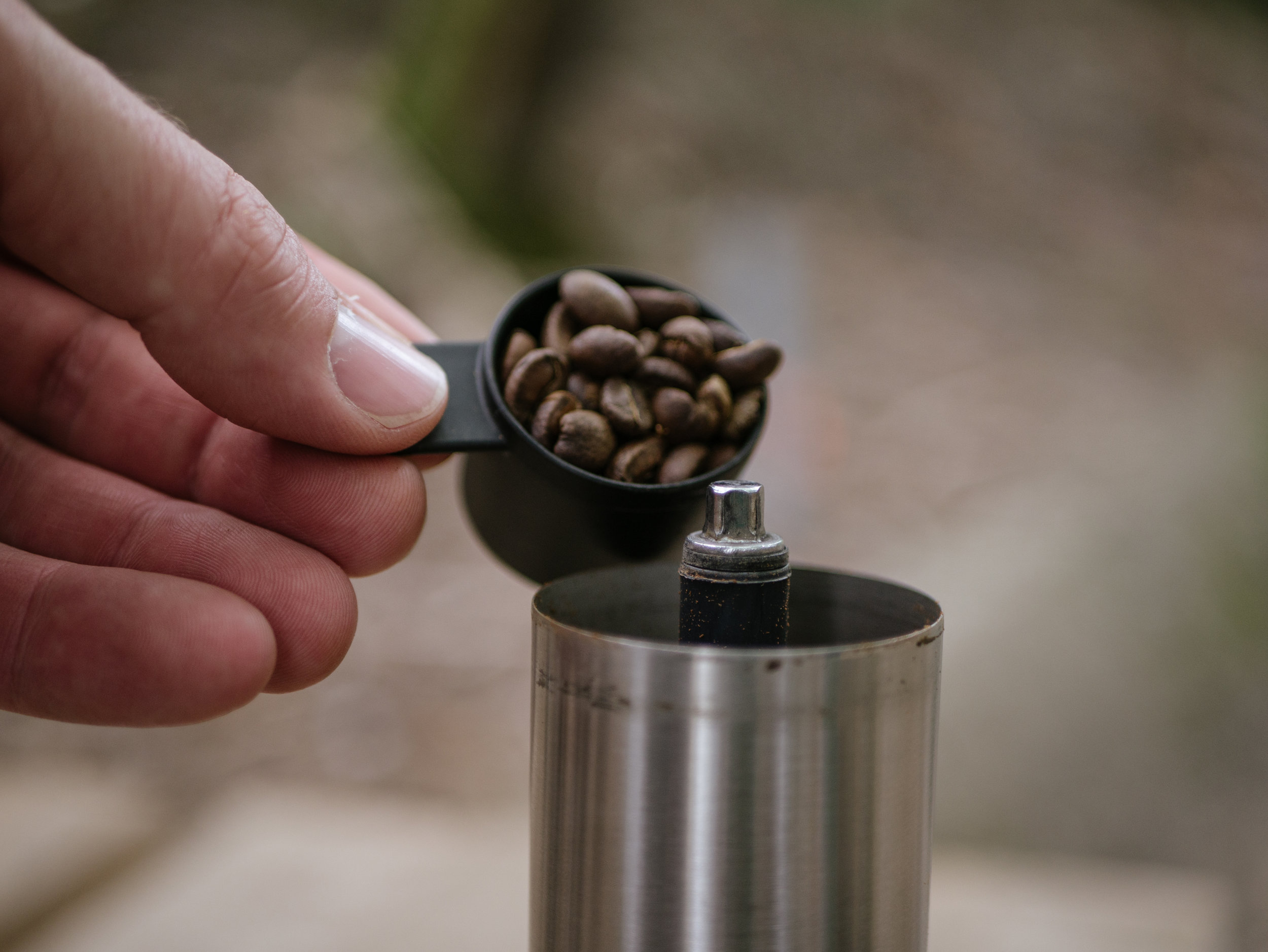 Dial in your hand grinder for fine (espresso).