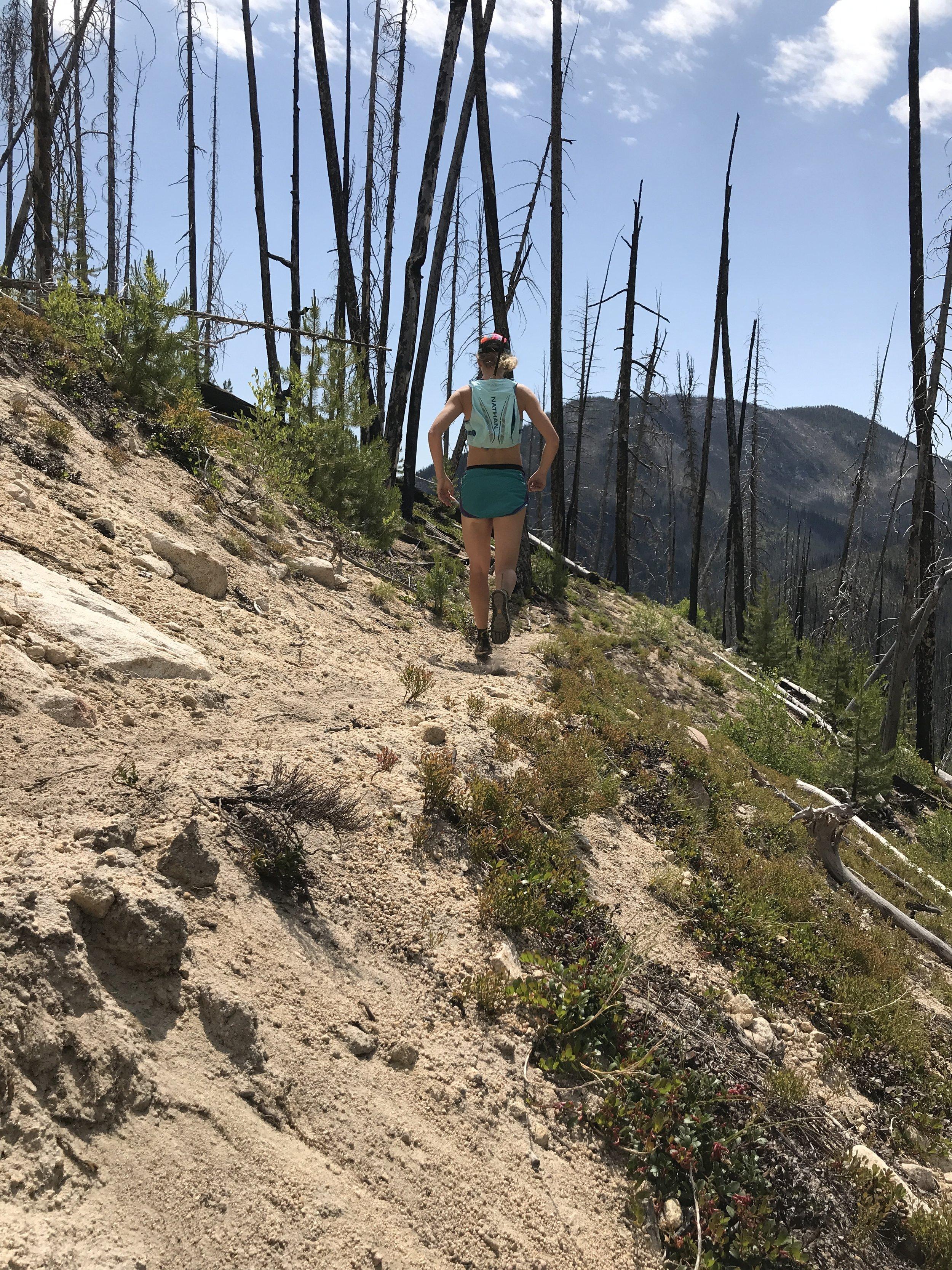 running to a distant alpine lake with a sleek Tenkara USA rod, summer 2018, self-portrait