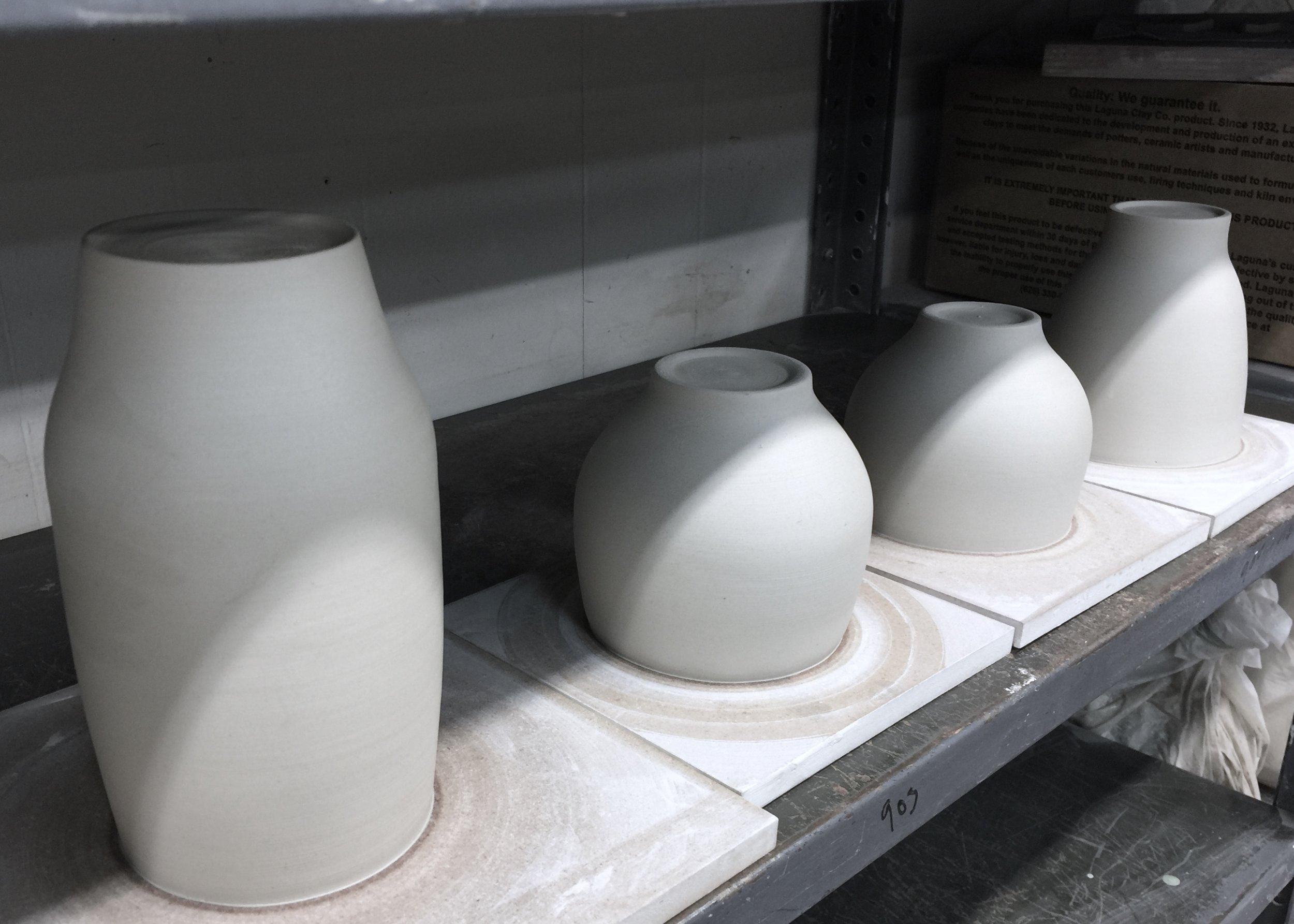 wheel thrown ceramic porcelain cup forms for slip-casting plaster molds