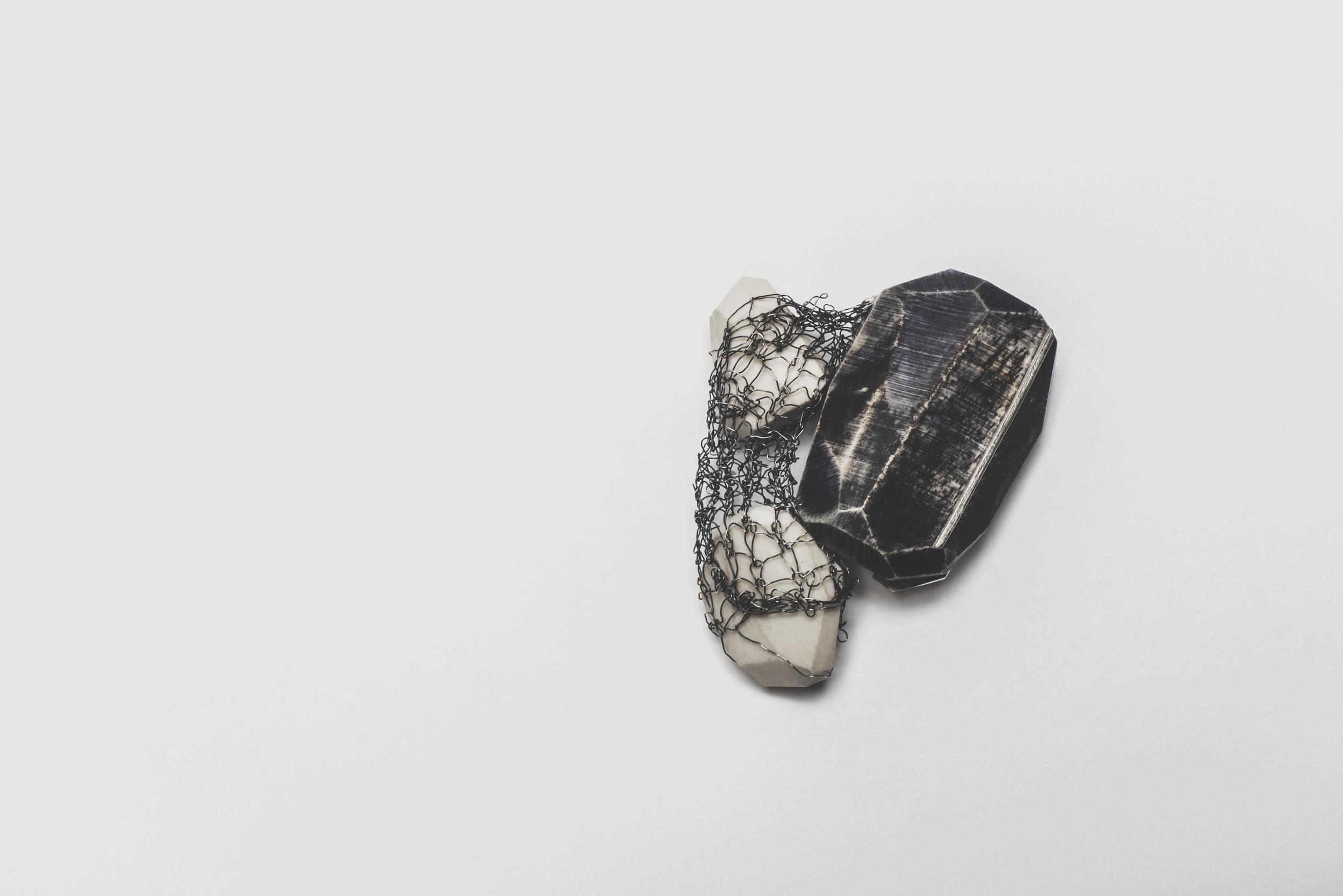 'Mir-cloiche' Brooch - Bone, Ink, Silver, Knitted Silver Wire