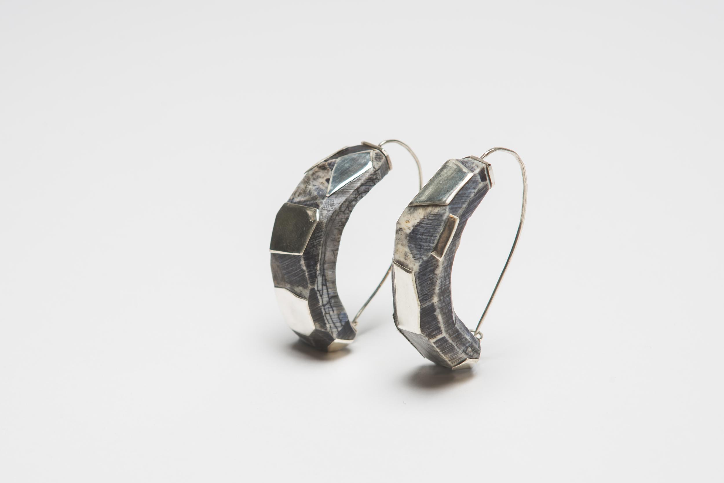 Blue Bone & Silver Statement Hoop Earrings