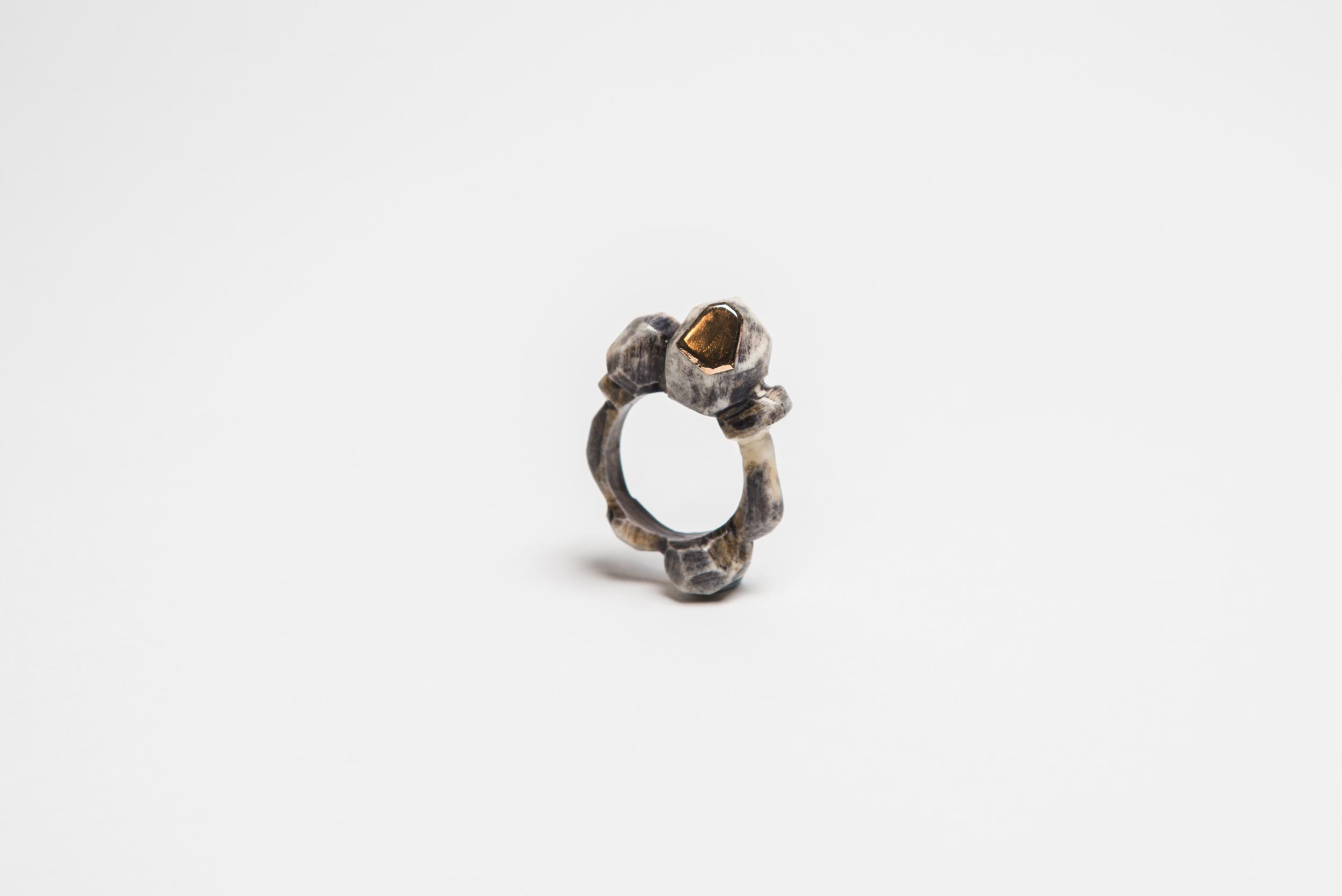 Dyed Bone & 18ct Rose Gold Rock Ring