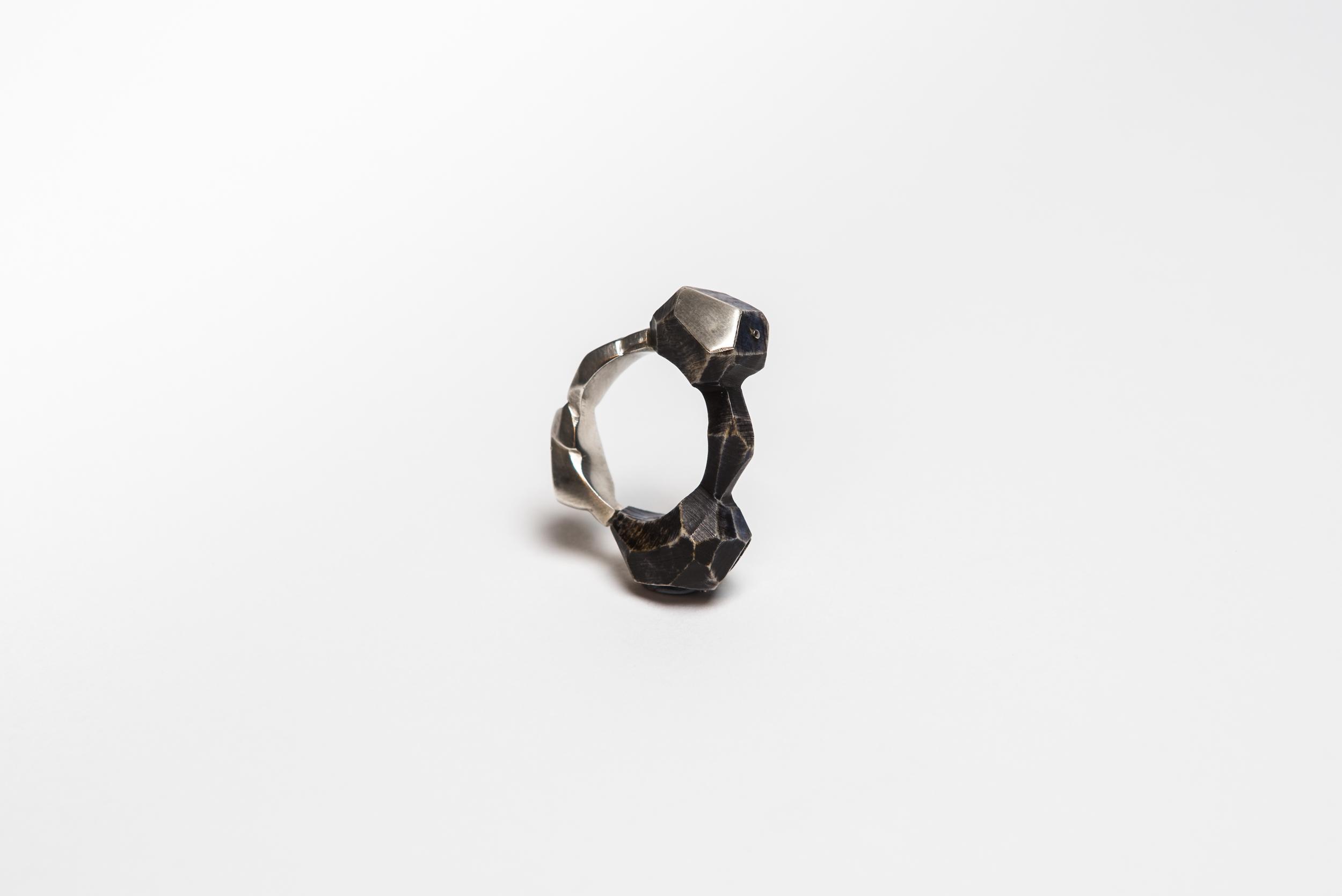 Dark Bone & Silver Rock Ring