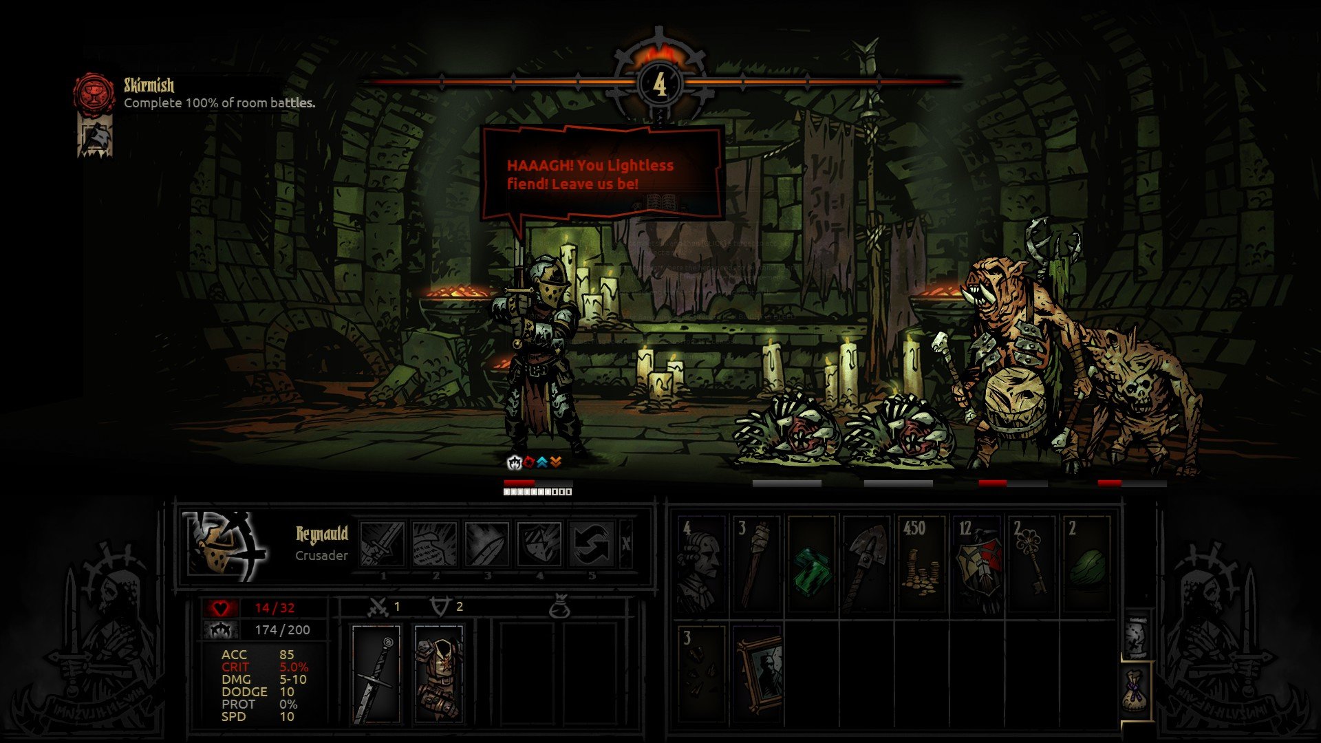 Darkest Dungeon.  First run on the latest patch had my whole party die of heart attacks in one combat. Reynauld woulda' lived, too, if not for the damn corpsepile.