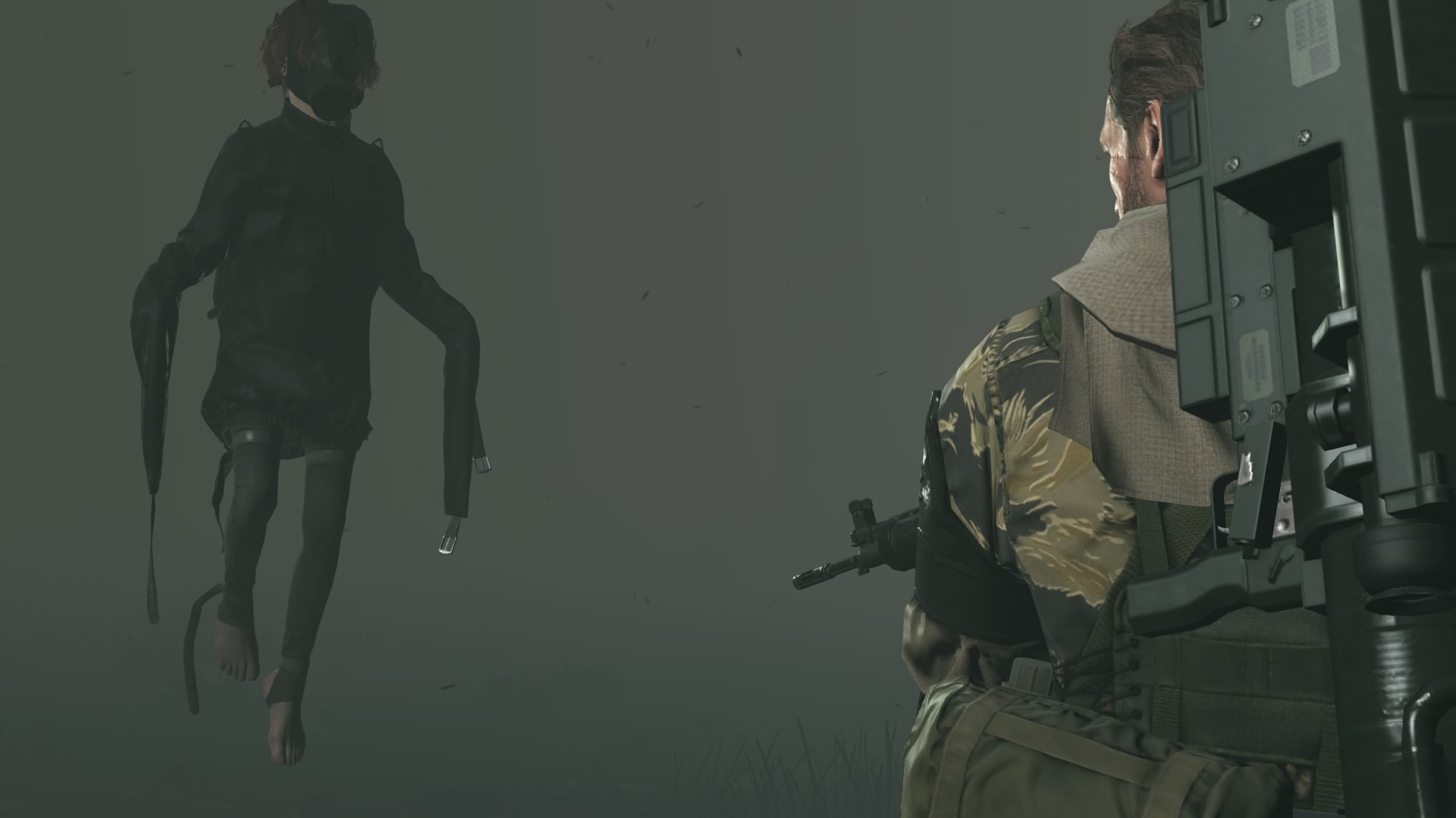 MGS:V. This game disappointed me greatly. I think i deleted it from the hard drive after the credits rolled. But i ended up with some interesting shots. Meet the child version of 'Psycho Mantis.' I can only assume this is who he was suppose to be. It was never explained or even hinted at who this character was exactly. The only information i got out of the game was that the mantis character and the fire dude were apparitions that latch onto individuals with a great desire for revenge and seemed to like hanging out with Metal Gears as well.