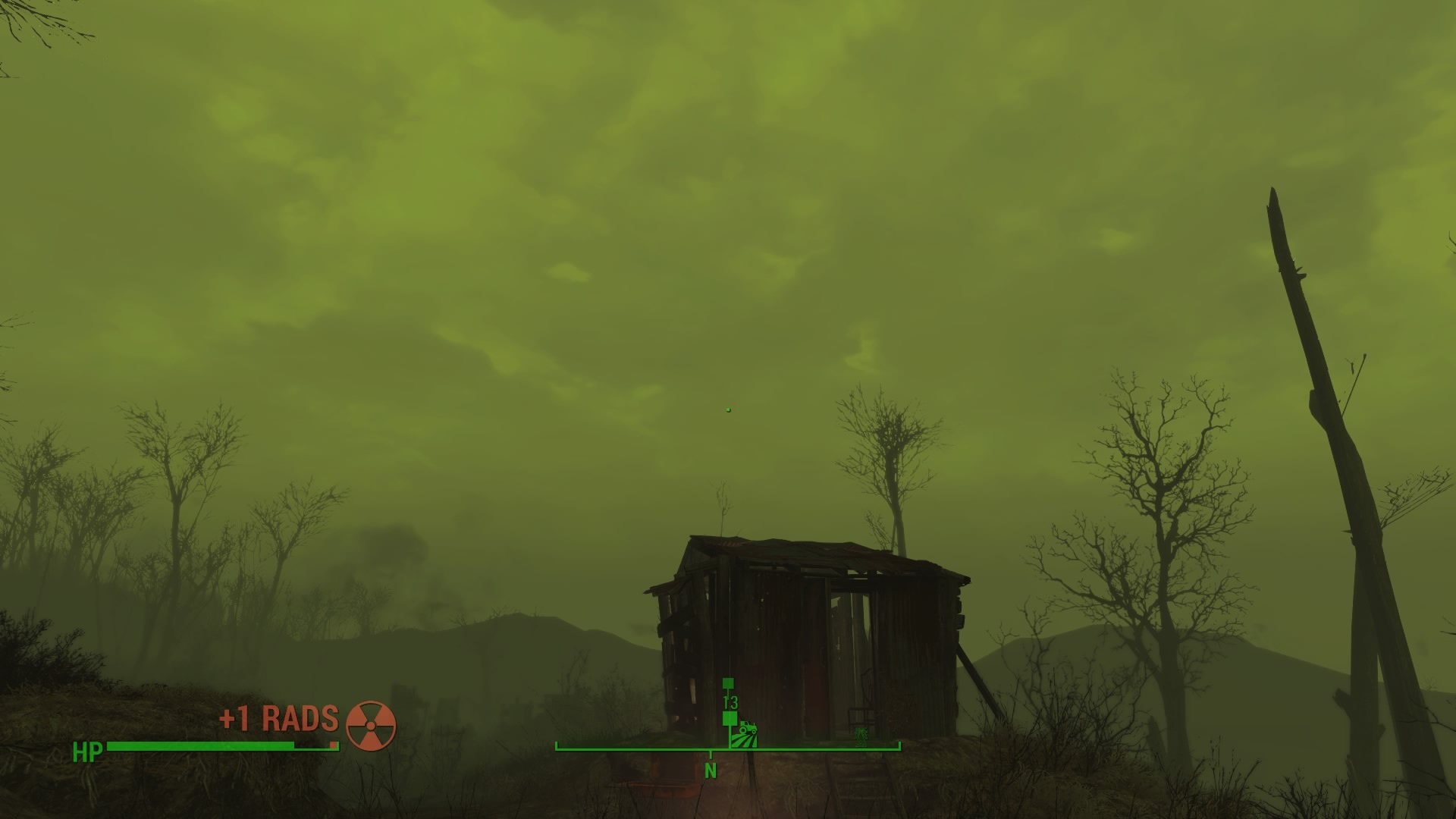 The dynamic weather in fallout 4 adds so much life to the game. I don't know what else to call this but a Radiation storm or a green out. It just rolled in and scared the dookie outta me. There was lightning and shit everywhere, i went inside the shed for a while. Some bitch was living there so i slept in her bed for 2 hours to ride out the storm; left her an old fan and a fire extinguisher as thanks then left. 10/10