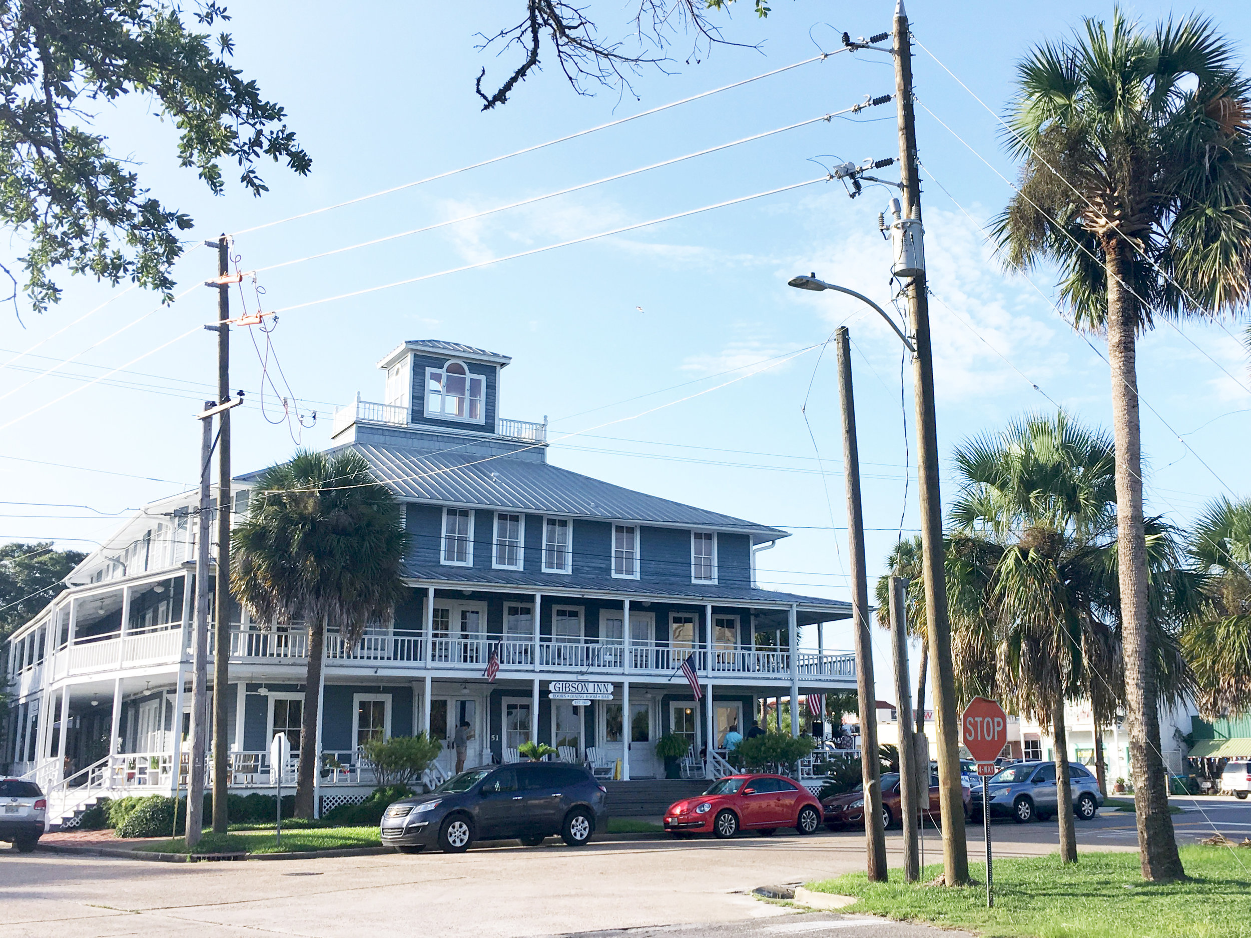 The Gibson Inn,Apalachicola, FL - The Gibson Inn is one of those iconic Apalachicola institutions. I still remember Christmas day, driving over the bridge to Apalachicola, seeing the Gibson waiting there at the base of the bridge, and knowing that my grandparents' house (and Christmas presents) was only a few minutes away. I'm pretty sure that I also had my first club sandwich during one Sunday afternoon lunch with my Grandmother. Now I love coming to see the classic old bar in the lobby, and sitting in a rocking chair on the front porch, watching the world go by.
