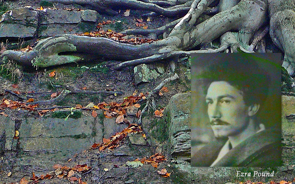 """Episode 4: History of American Haiku, Roots (photo of Ezra Pound an his poem, """"In a Station of the Metro"""")."""
