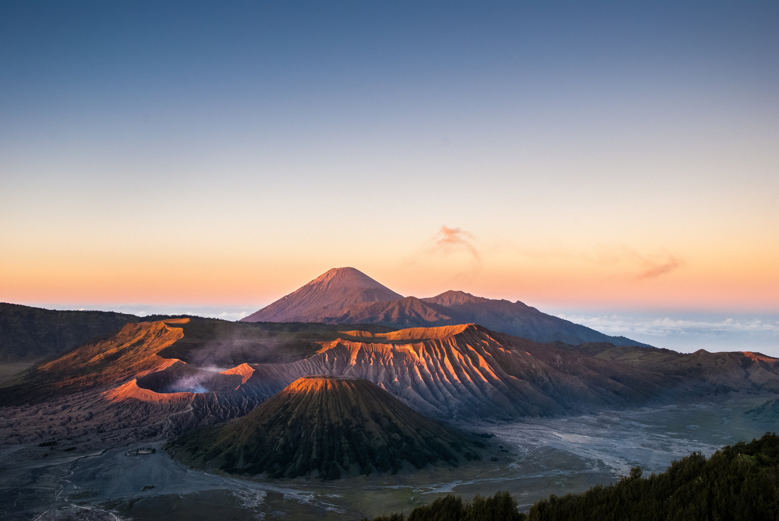 The first light of the day touches Mount Bromo Indonesia