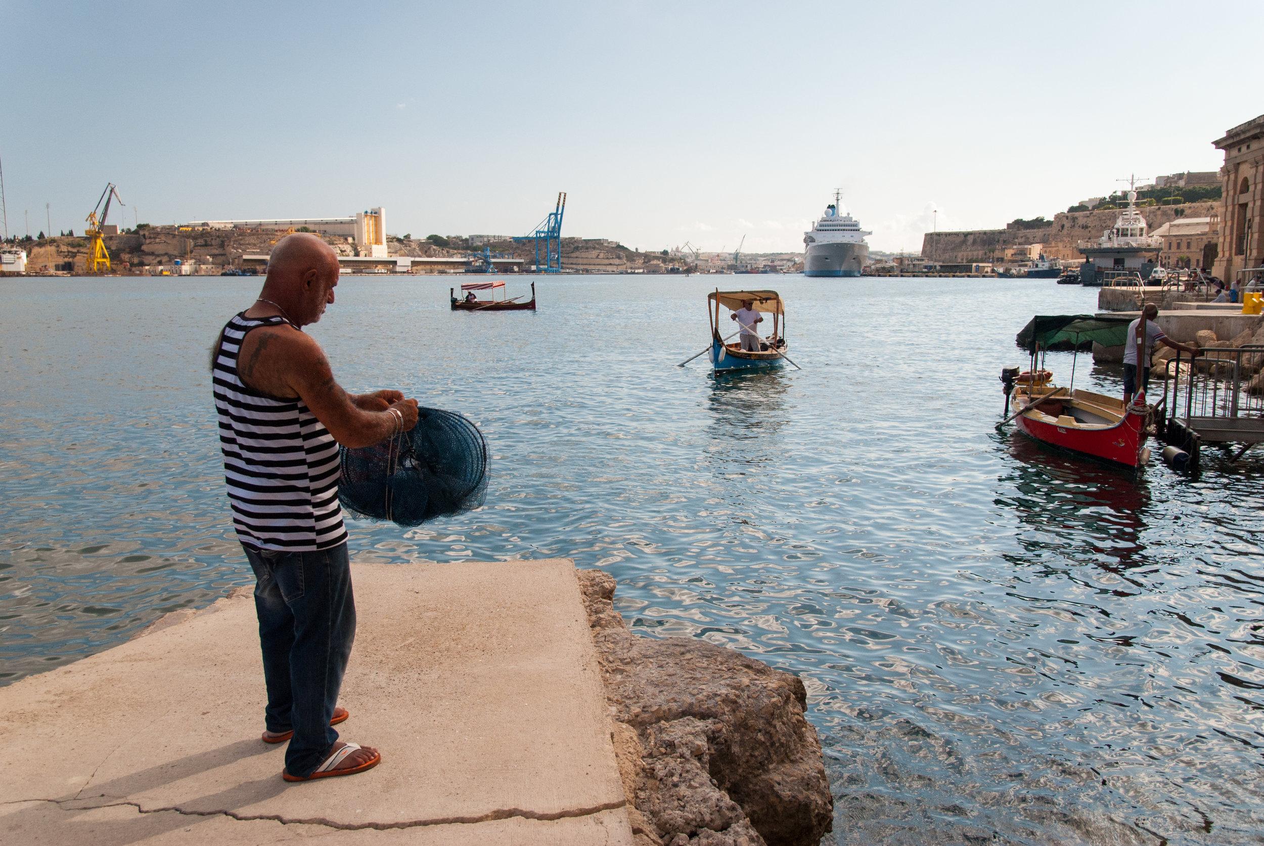 Fisherman in Valletta, Malta