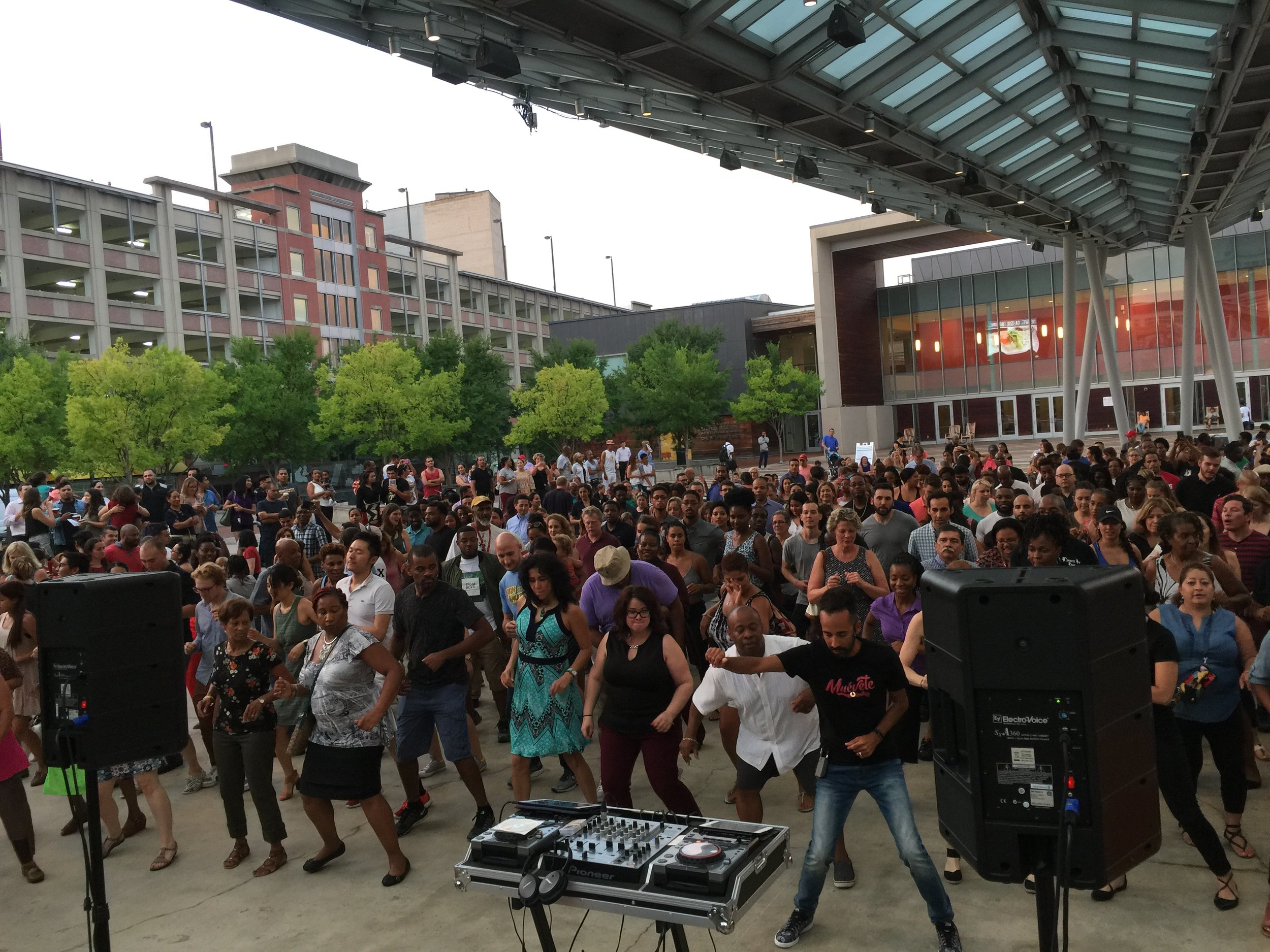 Latin Night at Silver Spring's Veterans Plaza with DanceInTime and Victor Maysonet.
