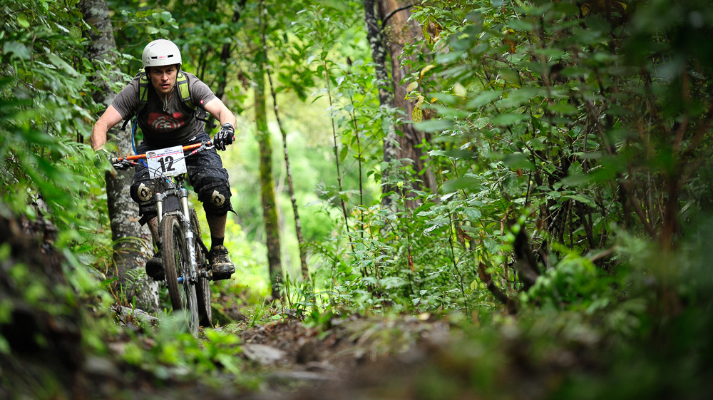 Andre Jaworski heads through the trees