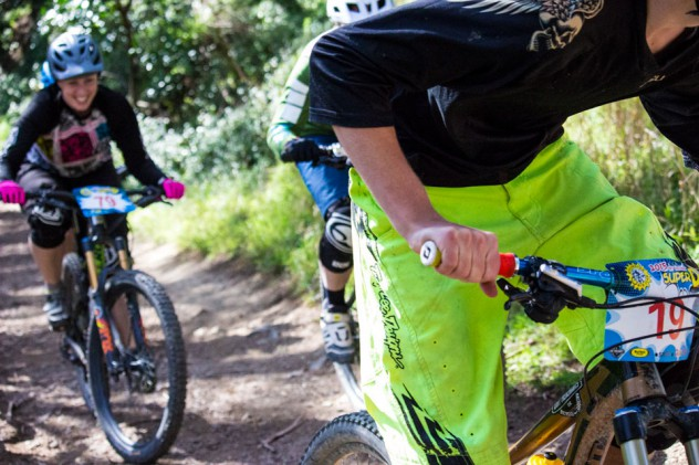 Even when climbing the steep bit in practice, the large contingent of women riders were having a ball out on course.