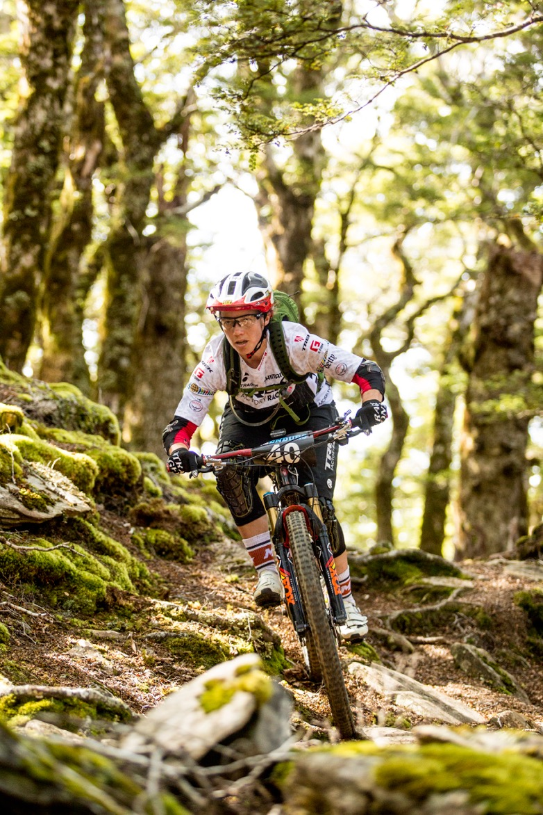 Tracy Moseley makes the most of her chopper ride to the top of Wakamarina in the NZ Enduro. Photo: Caleb Smith