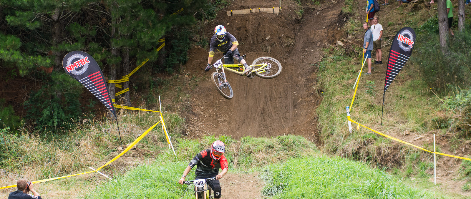 Macdonald follows Blenkinsop over the money booter during DH practice. All photos in this article are by Digby Shaw.