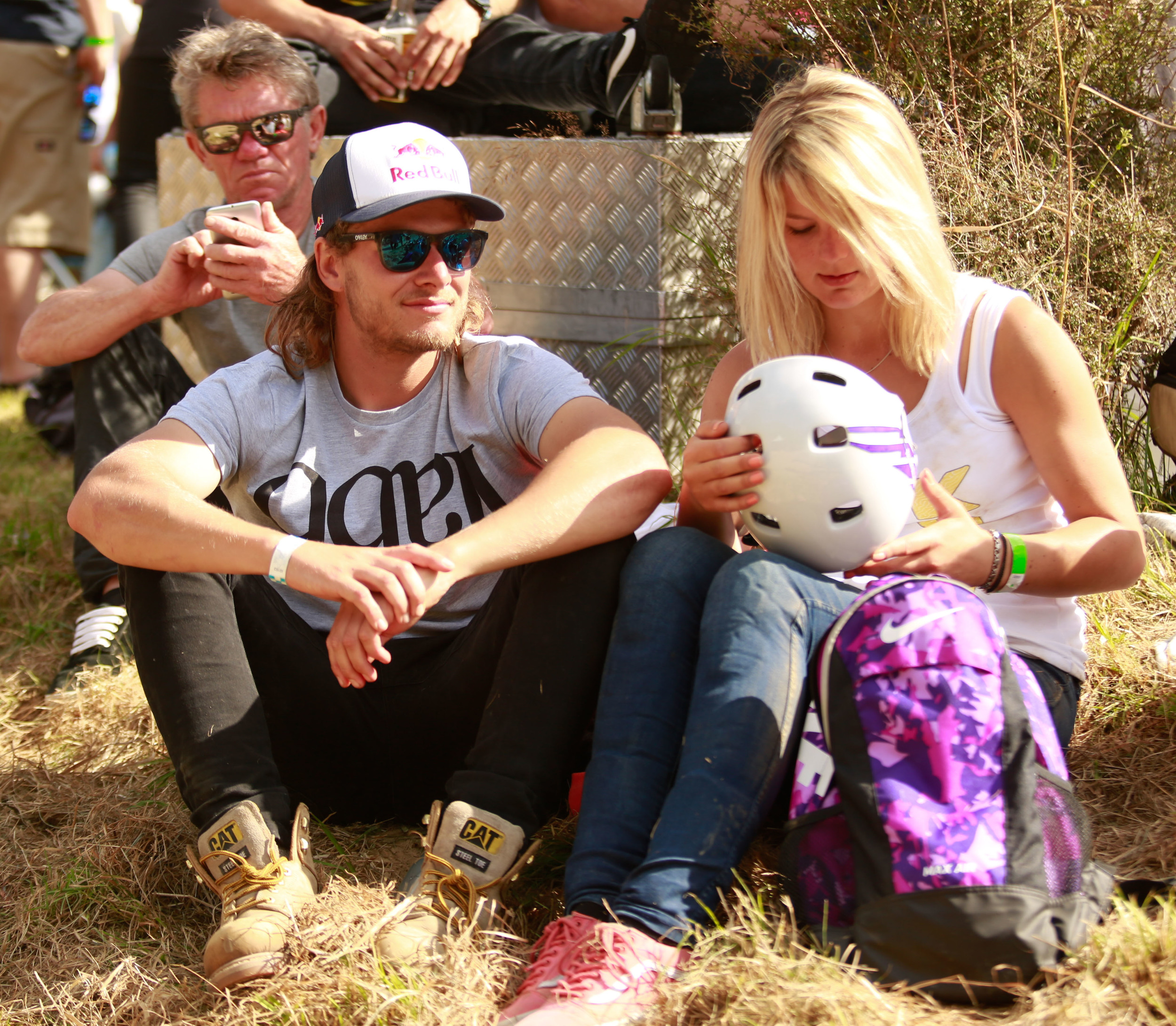 Levi Sherwood and his girlfriend Ellie Chew watch the BMX and MTB divisions. Ellie managed to show some of the guys up on the track during practice riding a BMX handbuilt by Levi.