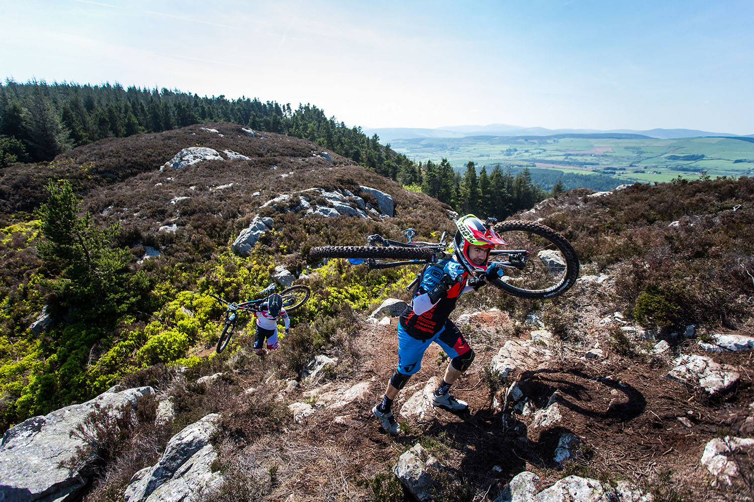 A small hike-a-bike to the top of stage 2. Photo: Lapierre- Jeremy Reuiller