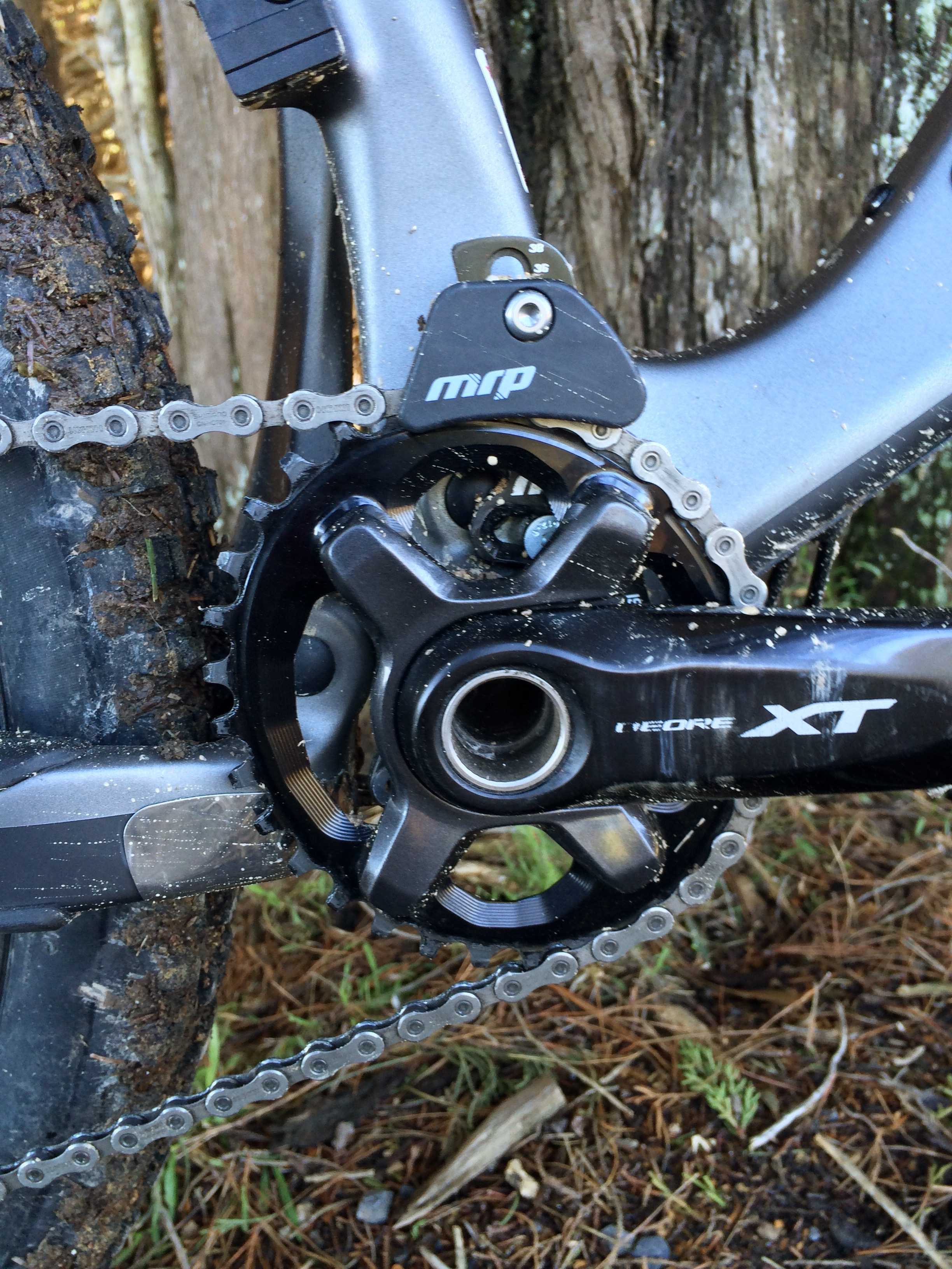 """You didn't believe me about the 16.5"""" chain stays until you saw this pic huh? All tucked in tight. An oval ring from Absolute Black, one of Wideopens brands, along with Thomson, Chris King, Enve, Mrp, Stans, FSA and now Intense among others."""