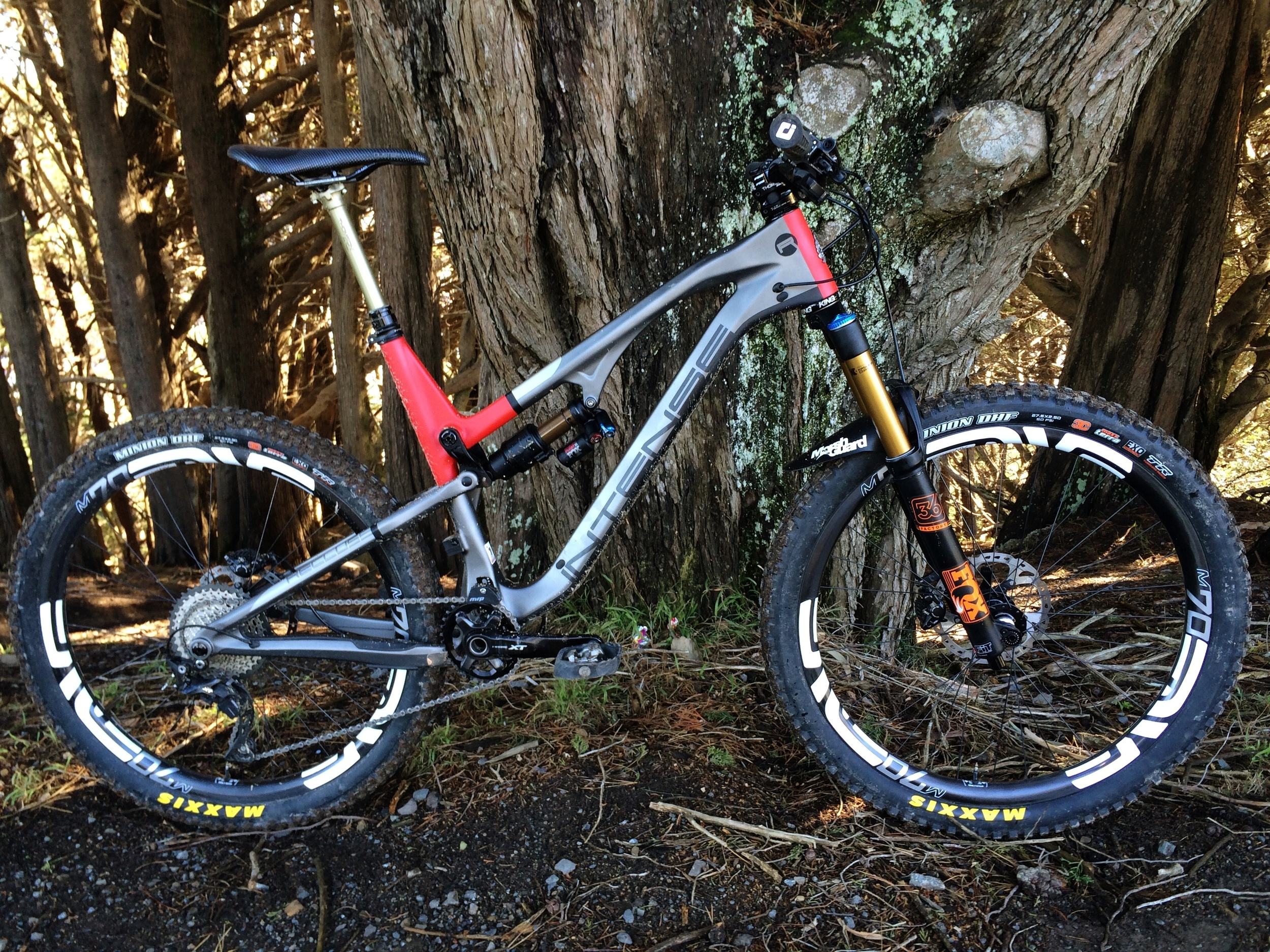 """Here it is in the real world before I took it down TTS in mt. Victoria, Wellington .A 140mm traveled, 66 degree head angled 27.5"""" wheeled trail beast."""