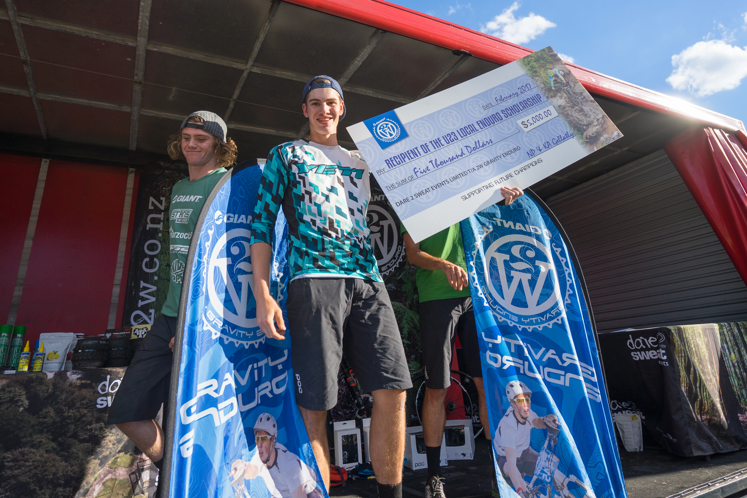 Daniel Self and his $5,000 cheque for the U23 Enduro Scholarship