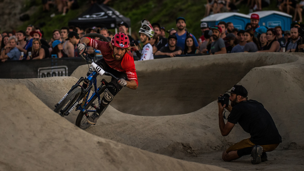 Adrien Loron during his second-place finishing run of the Ultimate Pump Track Challenge presented by Rockshox at Crankworx Whistler. Photo: Sean St Denis