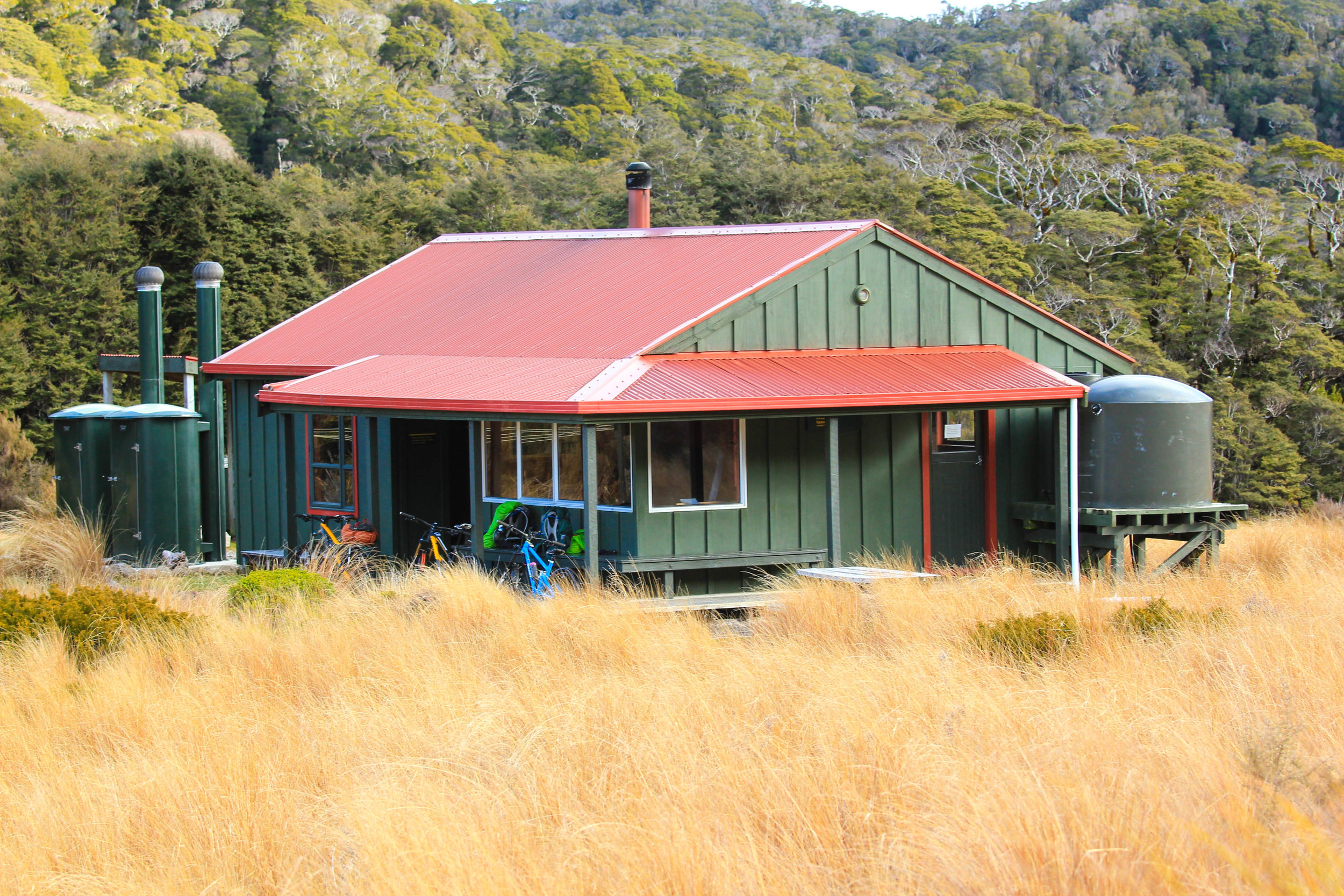Saxon Hut on the Heaphy Track, a busy thorough fare with both hikers and bikers