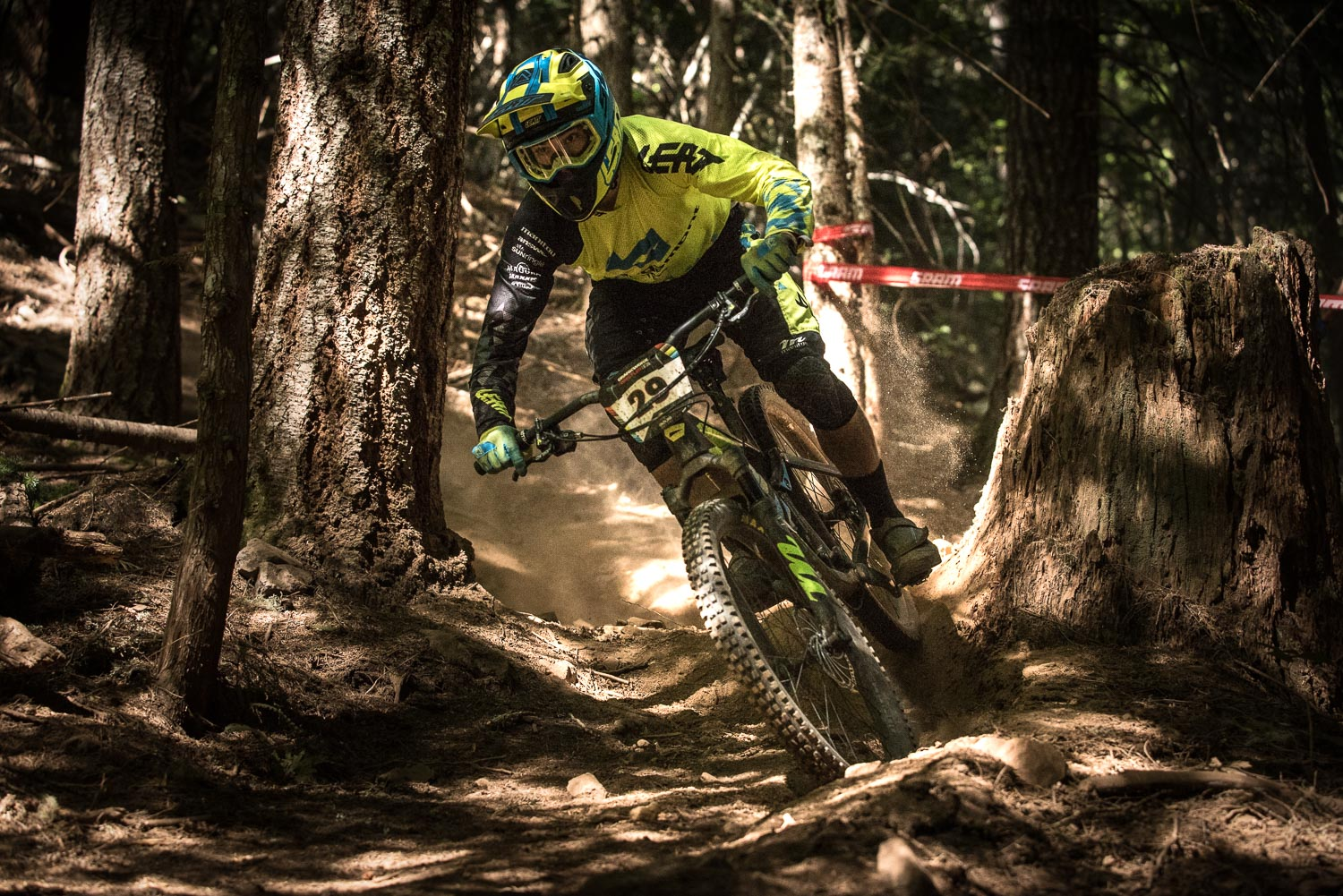 Fastest Kiwi on the day, Joe Nation boots up some roost in the dry chute of stage 3.