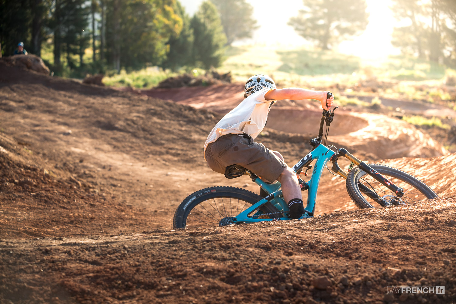 Hunter Paull rides off into the sunset down the fresh section of 'Duncan's Donuts'.