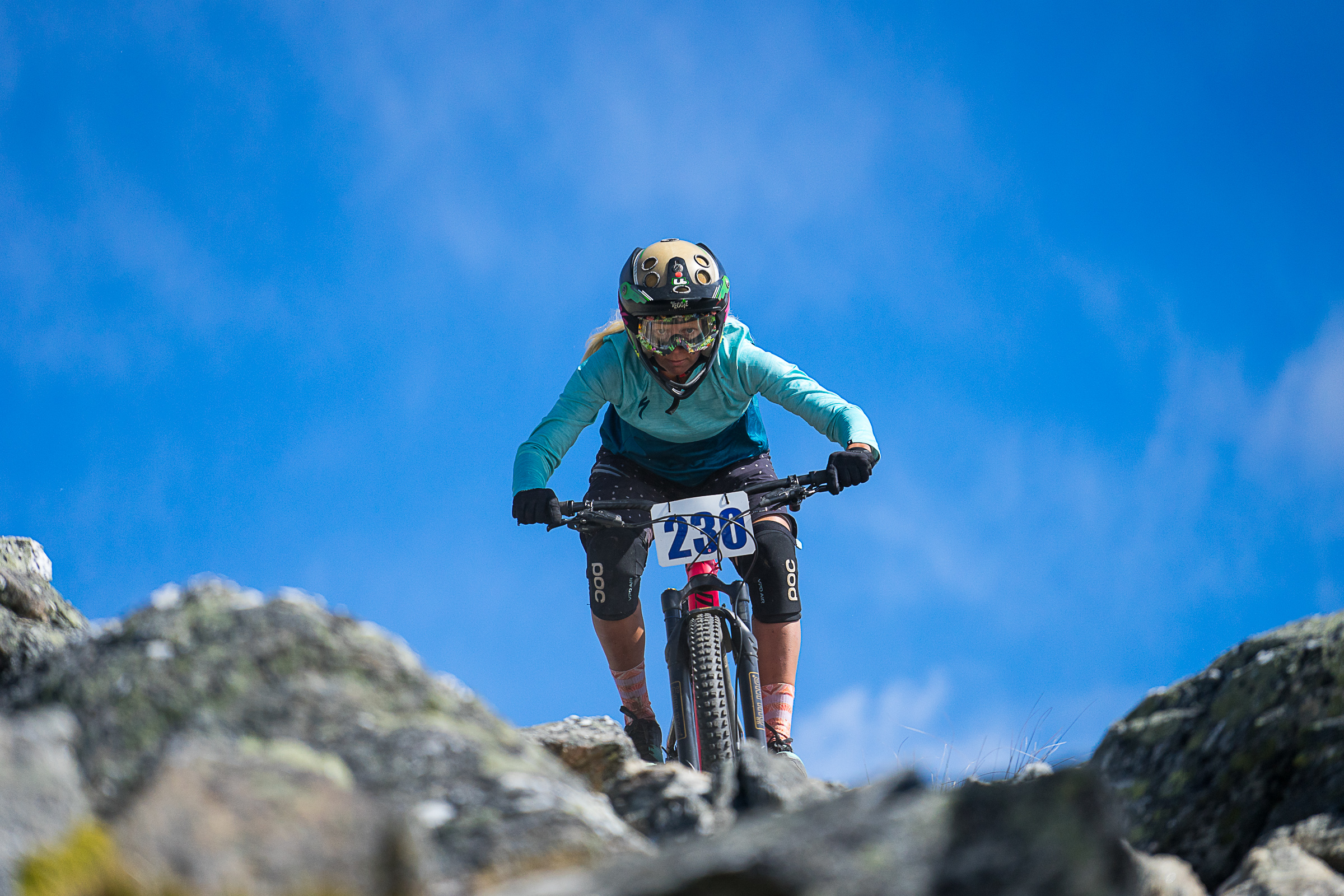 Eva showing what a trail bike can do