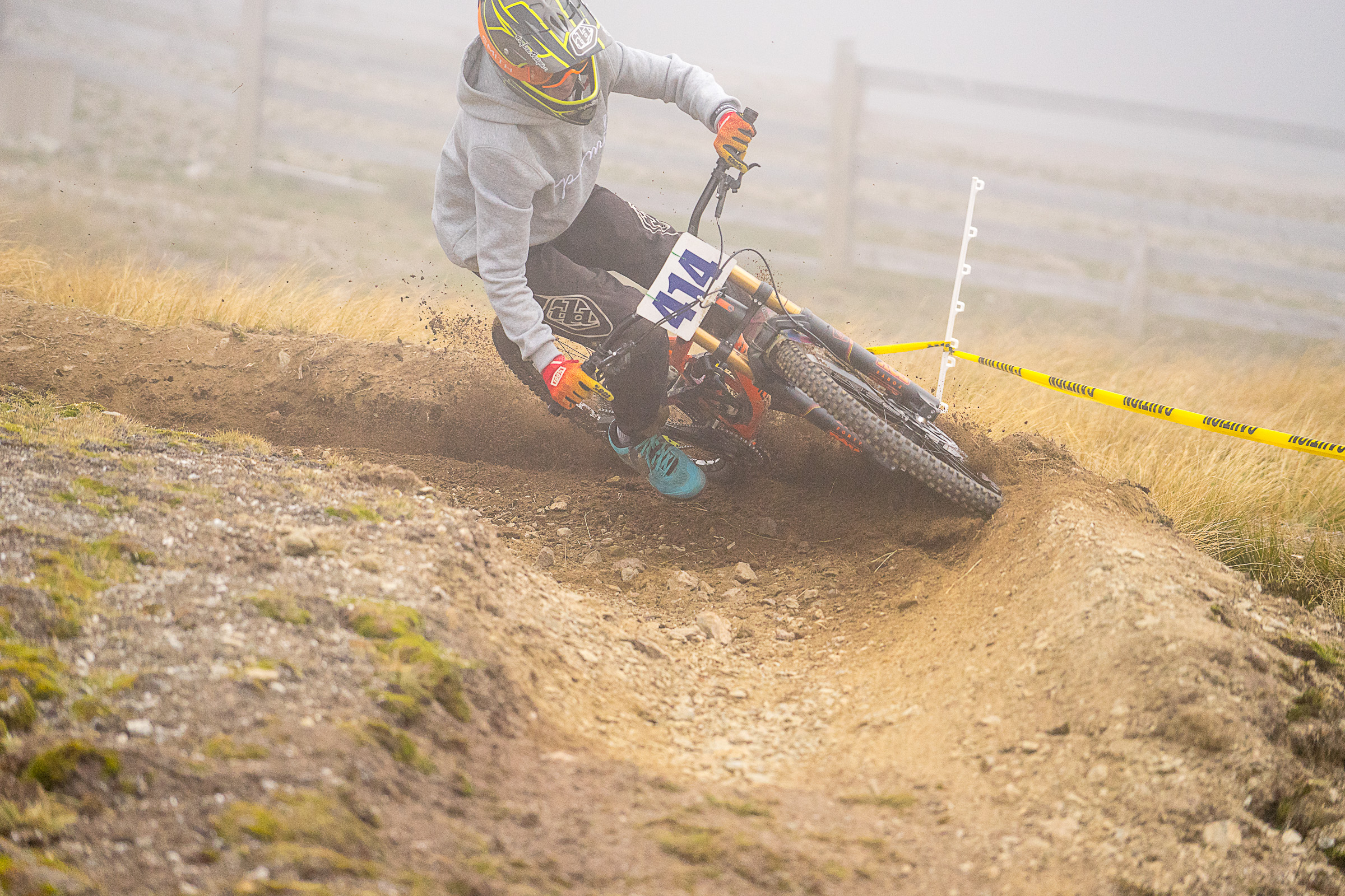 Thomas Masters mid way into blowing through a fresh berm