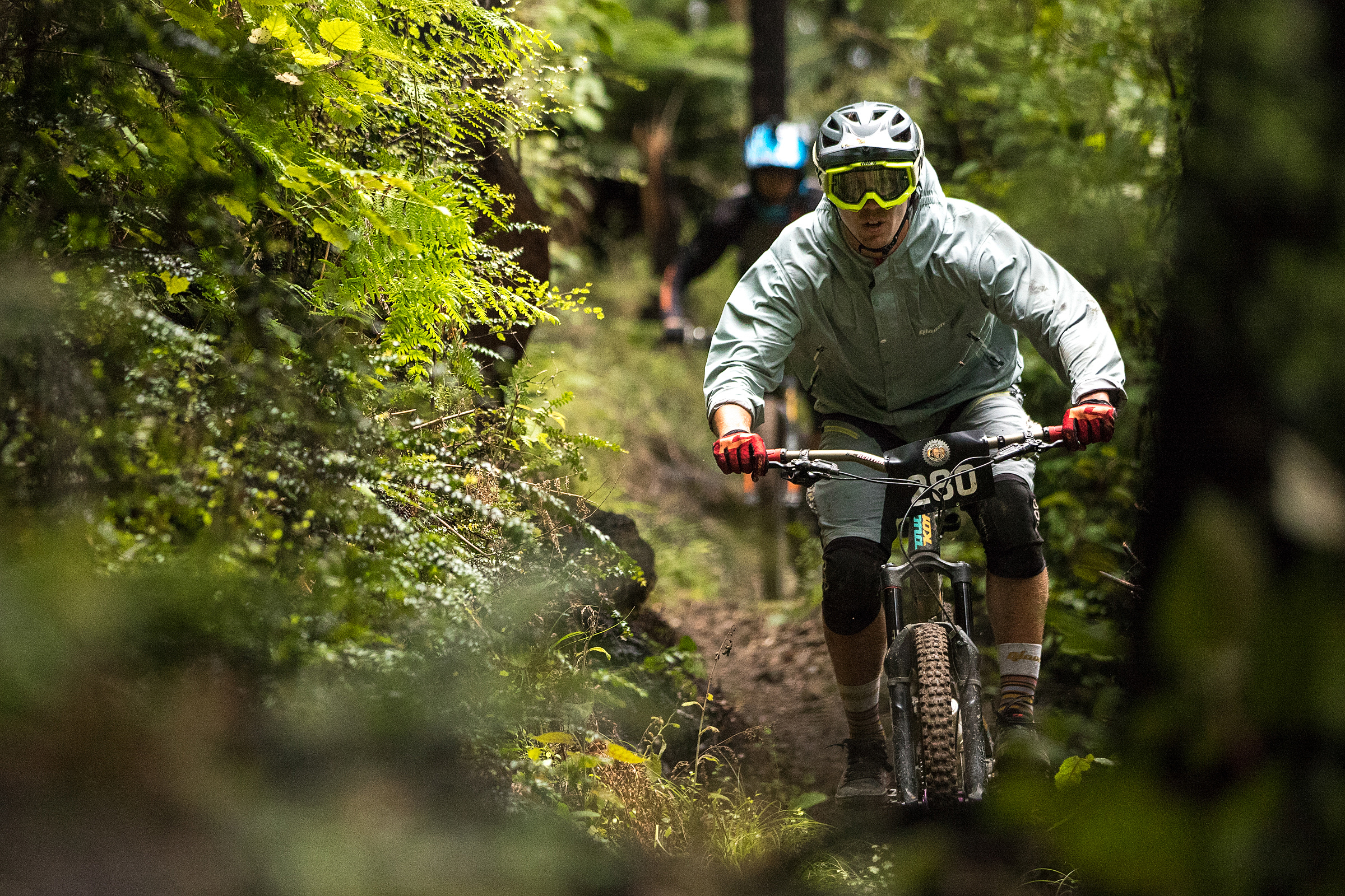Despite all the rain, some sections of trail were riding great as the traffic rode in a line. Photo: Odin Woods.