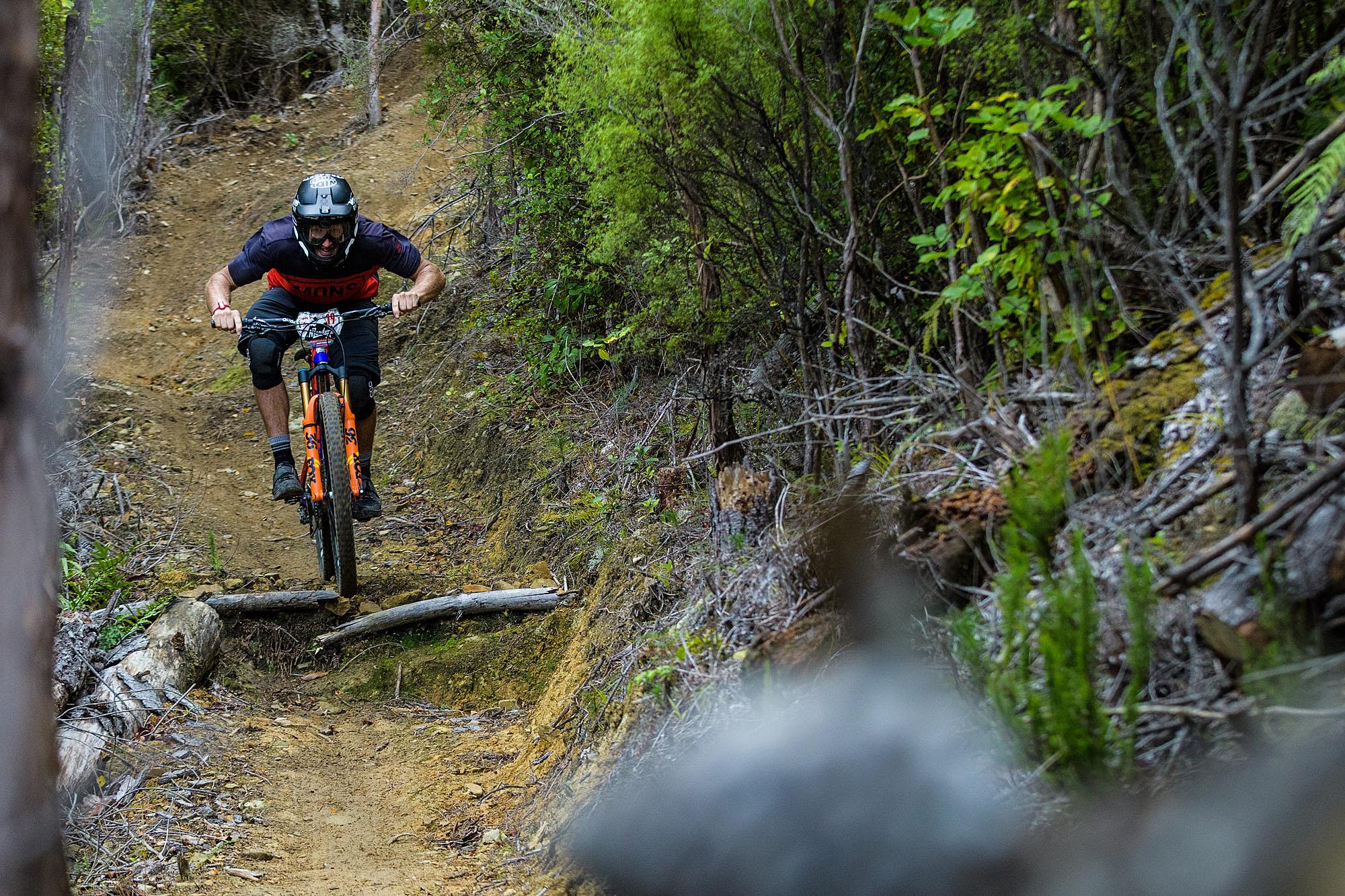 Conor Macfarlane made the last minute trip up from Queenstown to race. Known for his slopestyle and freeride ability, he's no slouch on a trail bike either.