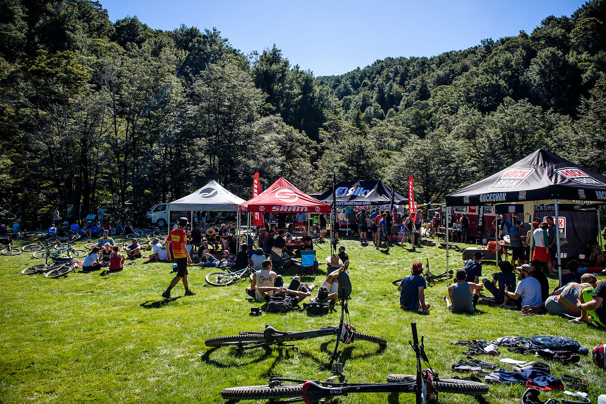 When racers arrived on the river terrace butchers flat they were treated to Granola from local legends Yum, and a coffee cart. Upon returning from the days racing they were treated to an event village packed with food, beer, a raffle raising money for Trailfund NZ and much needed shade from the blazing sun.