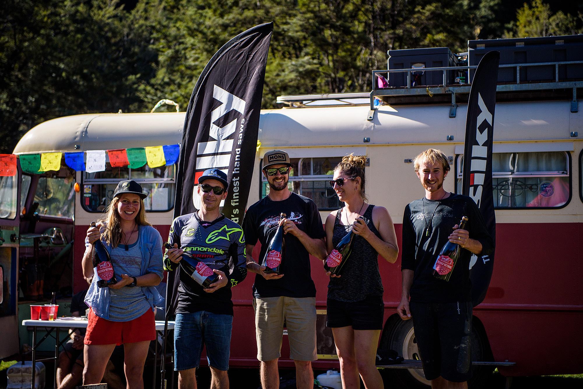 The NZ Enduro 2018 category winners. Anja Mcdonald, Jerome Clementz, Nick Sutcliffe, Emily Slaco and Joshua Foster