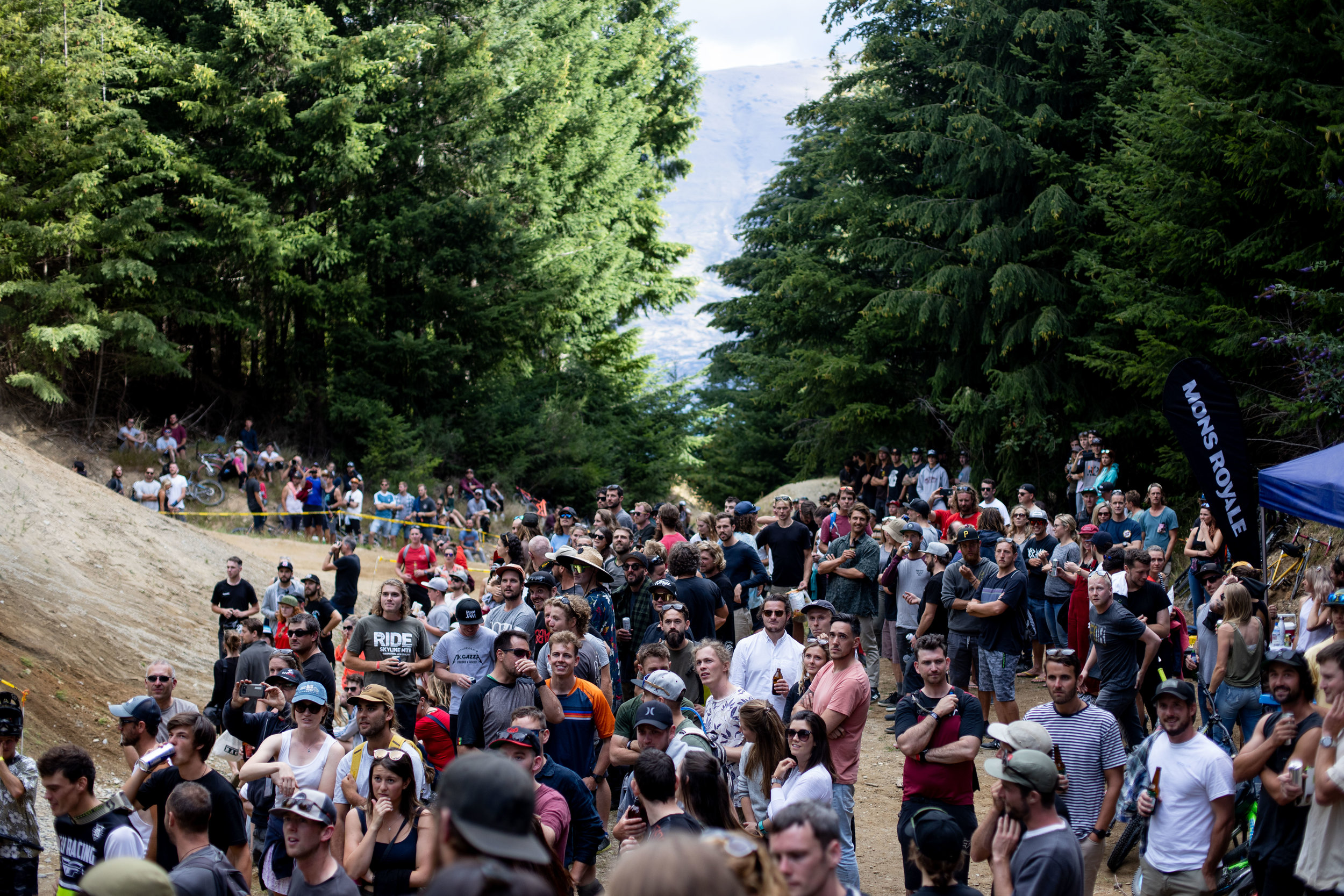 Crowd rolling in to watch the show go down.