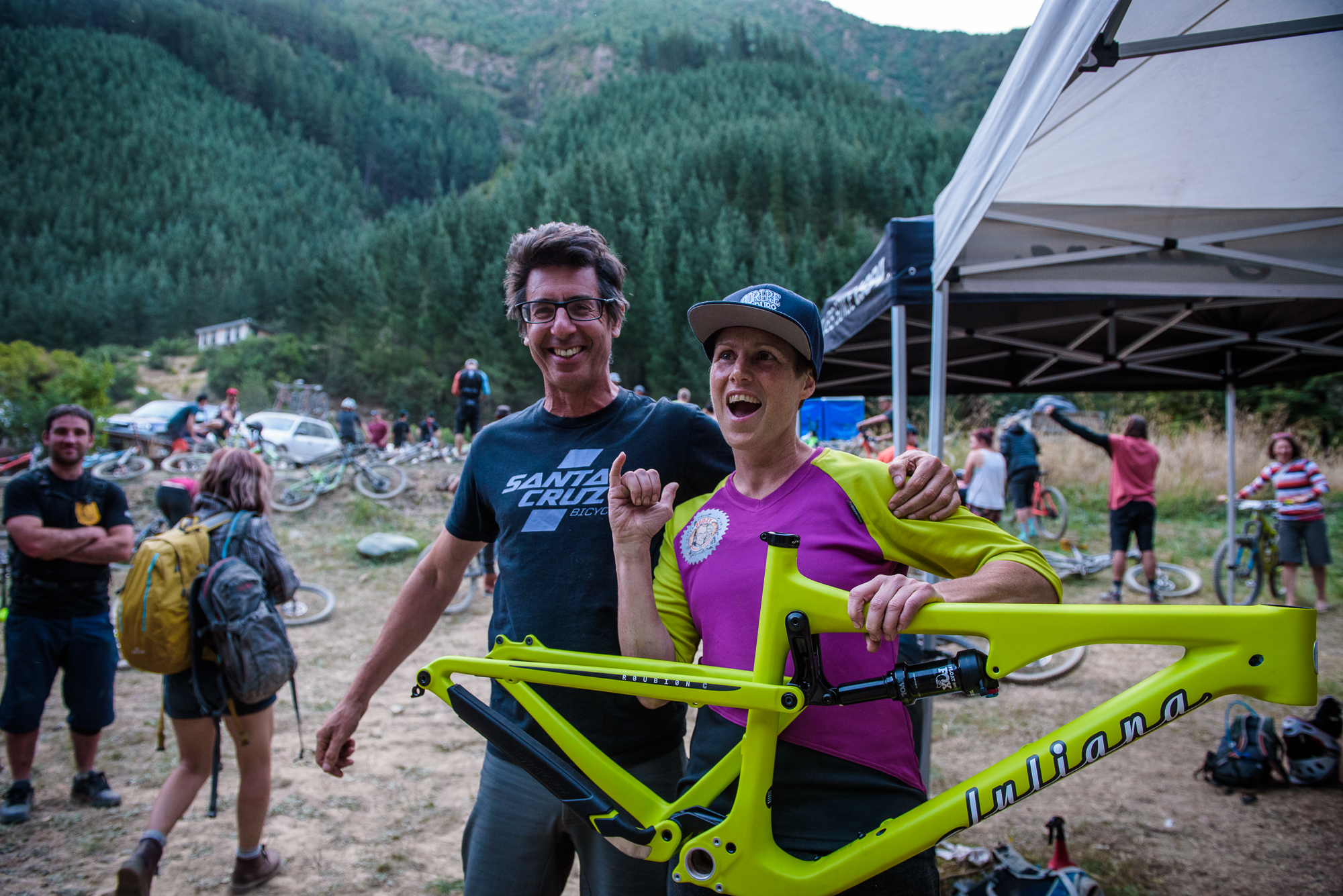 Every year the good folk at Hyperformance Hardware put up a frame as a spot prize. Karolyne Dunn walked away with a new Juliana. Photo: Digby Shaw.
