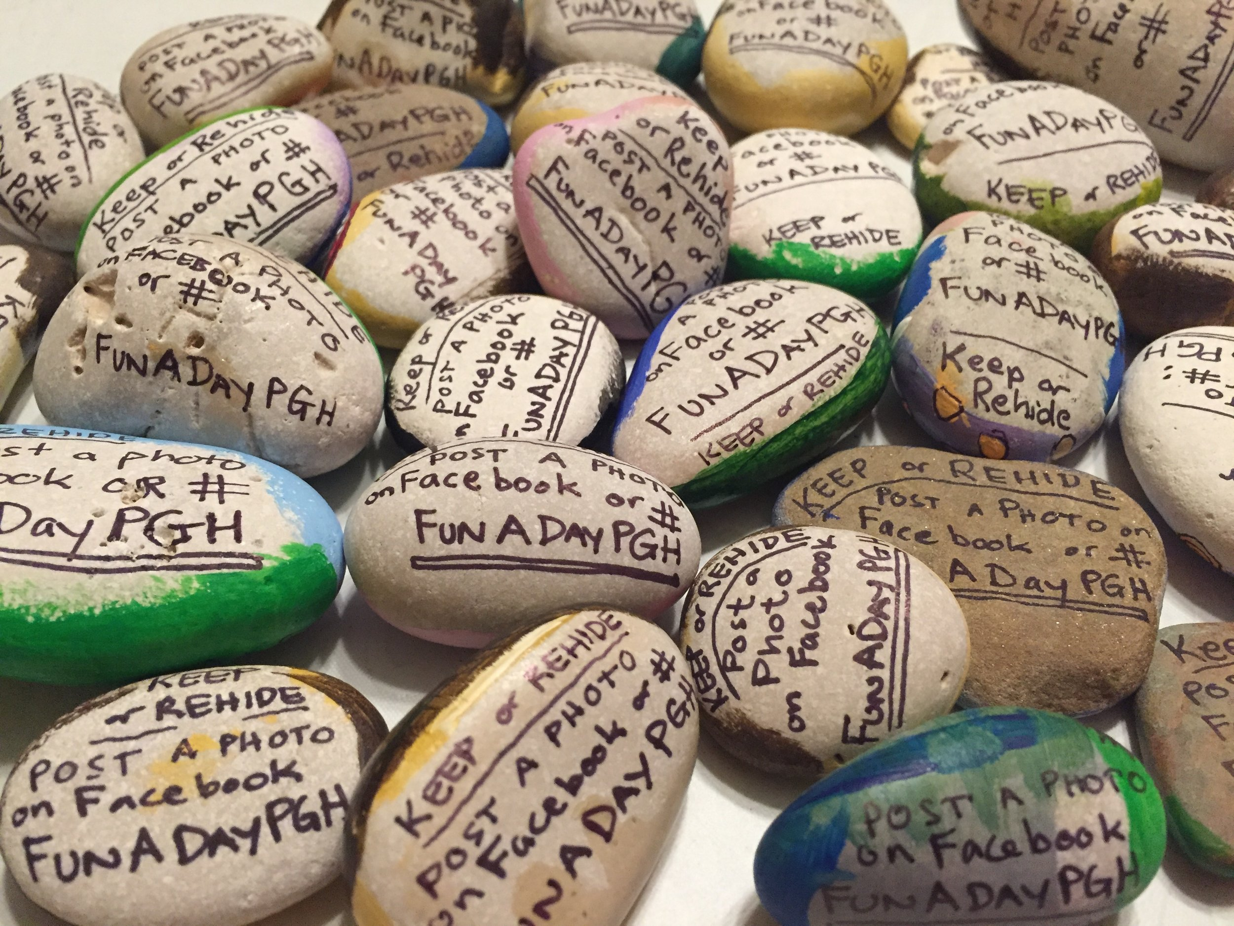 Rocks labeled and ready to hide.